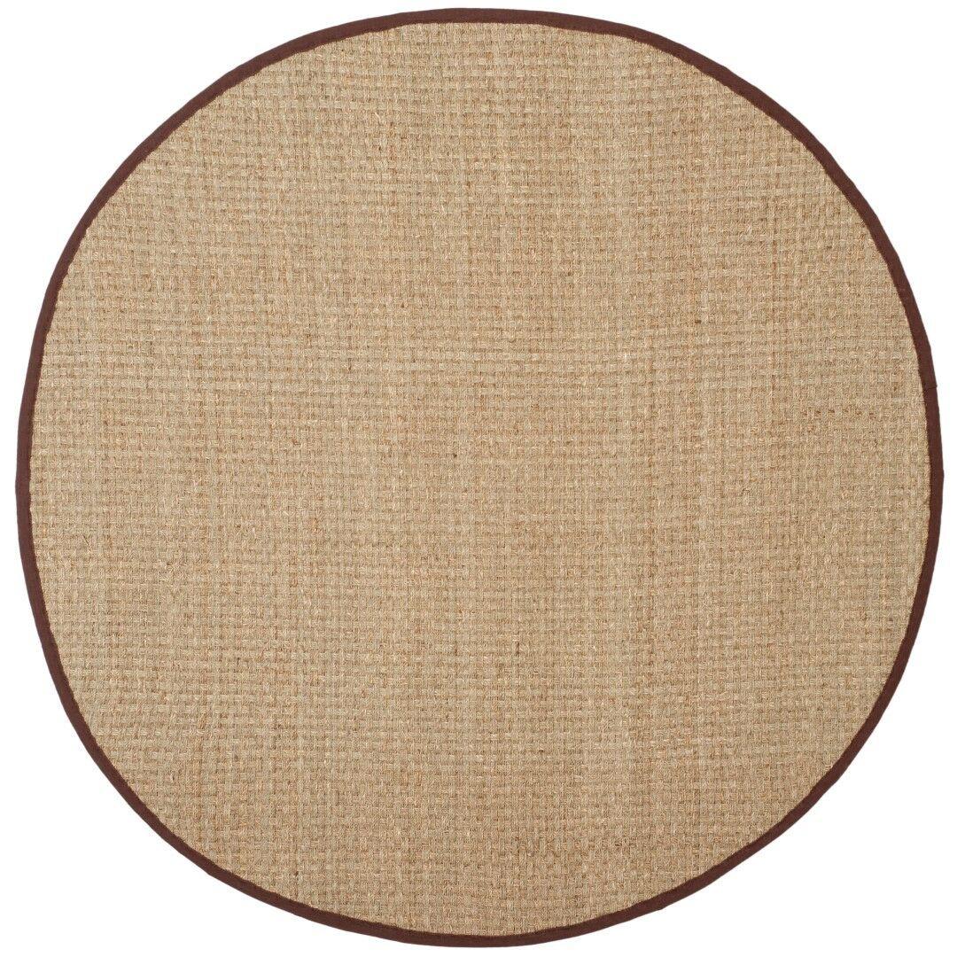 Richmond Natural / Dark Brown Indoor Area Rug Rug Size: Round 6'