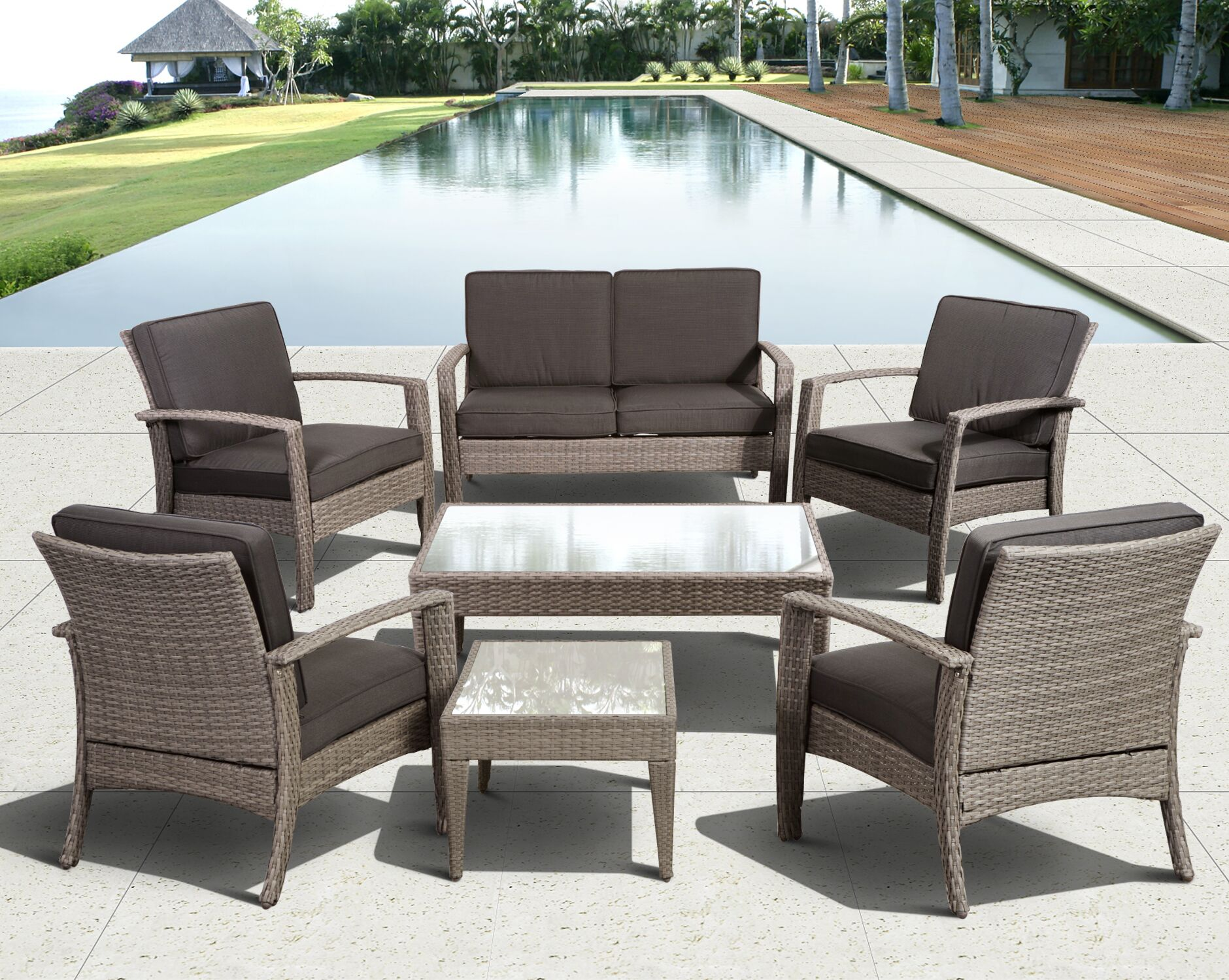 Aquia Creek 7 Piece Sofa Set with Cushions Color: Grey / Grey