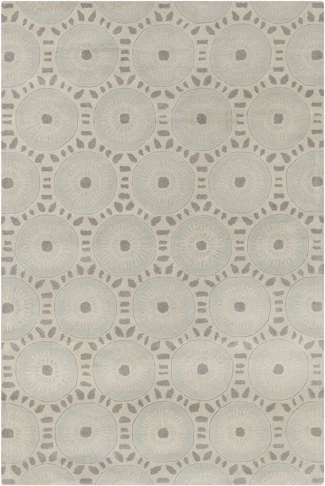 Purdue Hand Tufted Wool Cream/Light Blue Area Rug Rug Size: 8' x 10'