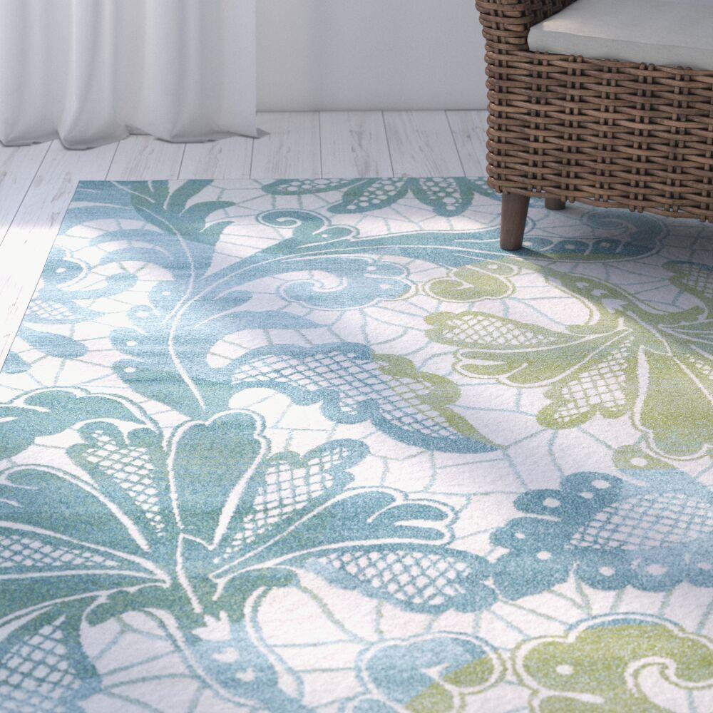 Wallon Ocean Blue/White Area Rug Rug Size: Rectangle 8' x 11'