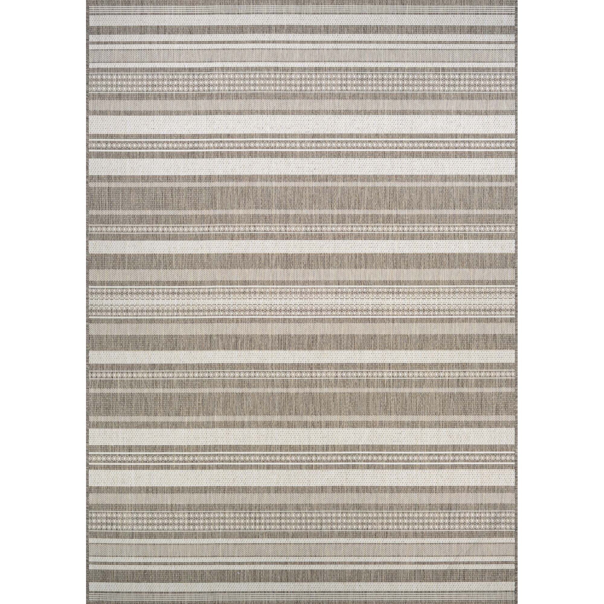Anguila Stripe Gray/Beige Indoor/Outdoor Area Rug Rug Size: Rectangle 5'10