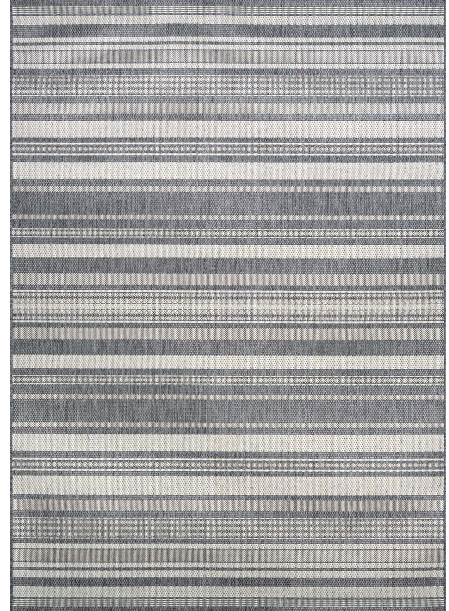 Anguila Stripe Gray Indoor/Outdoor Area Rug Rug Size: Rectangle 7'6