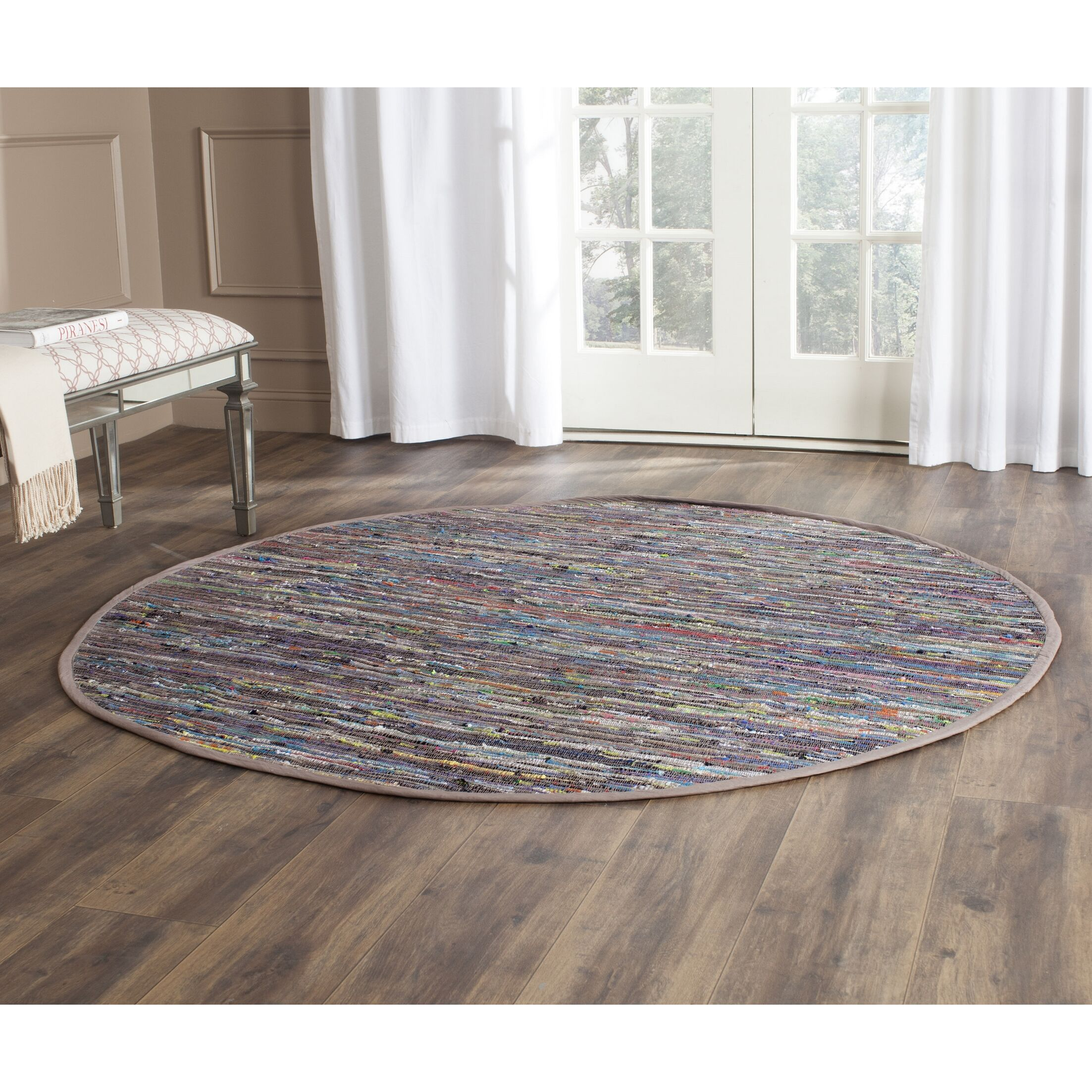 Hatteras Contemporary Hand-Woven Grey/Red/Green Area Rug Rug Size: Round 6'