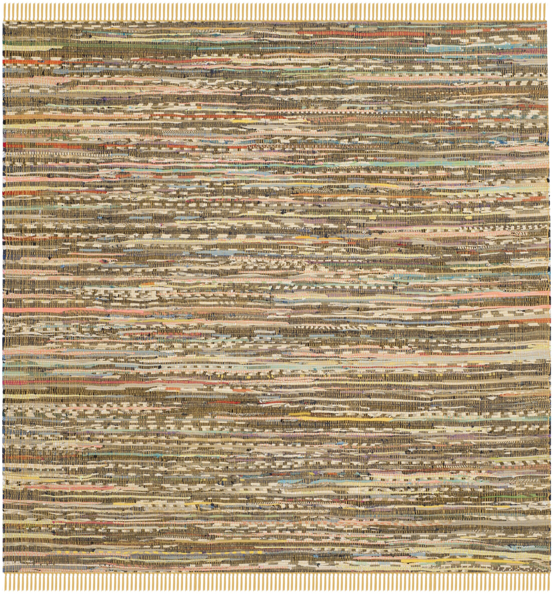 Kellerman Contemporary Hand-Woven Cotton Yellow Area Rug Rug Size: Square 6'