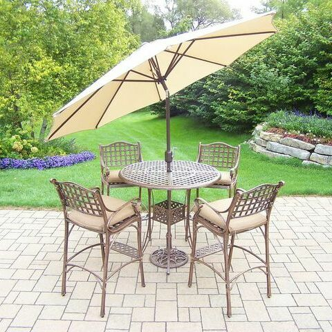 Thelma 5 Piece Bar Height Dining Set with Cushions Umbrella Color: Beige, Cushion Color: Sunbrella Spunpoly