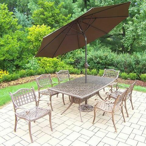 Thelma 7 Piece Dining Set Umbrella Color: Brown