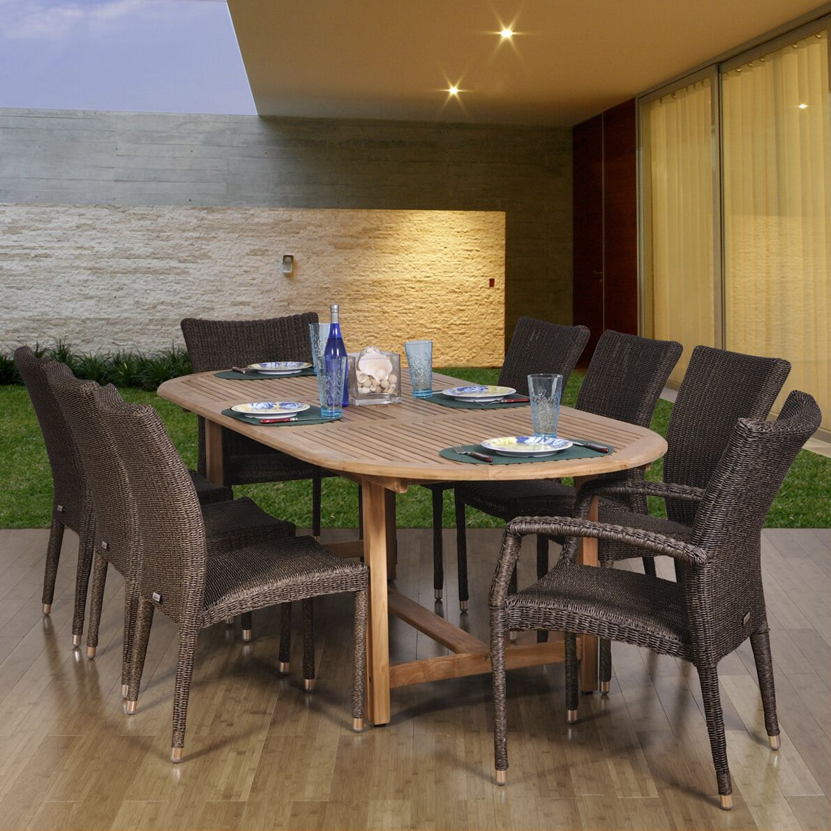 Elsmere 9 Piece Teak Dining Set Chair Type: Six High-back Chairs and Two High-Back Armchairs