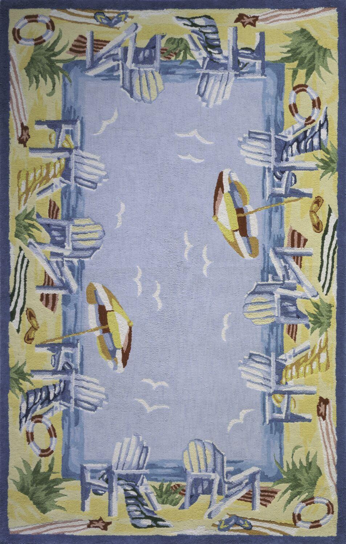 Tamins At The Beach Handmade Blue Area Rug Rug Size: Rectangle 4' x 6'