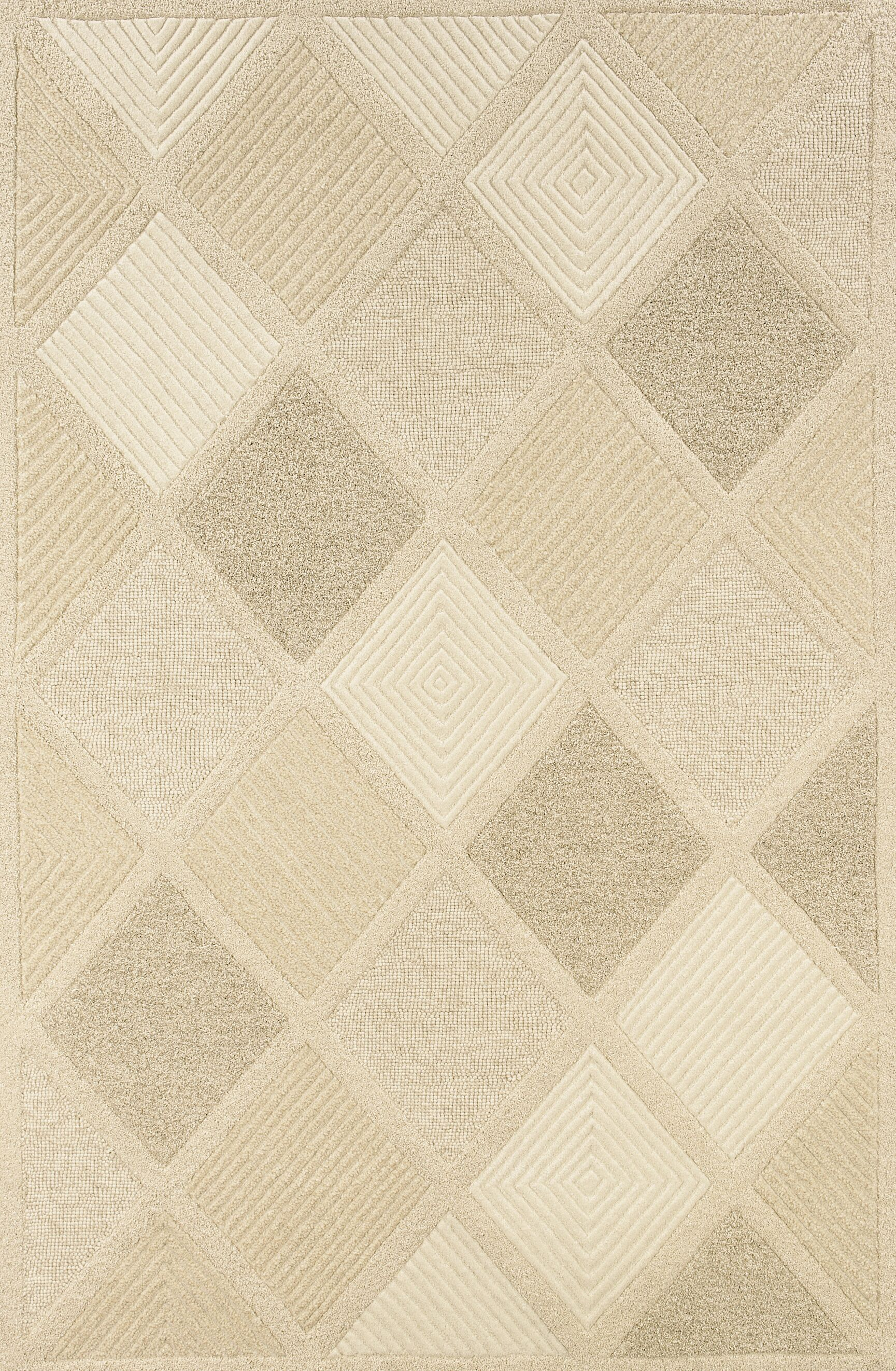 Argyle Hand Woven Wool Beige Area Rug Rug Size: Rectangle 3'6