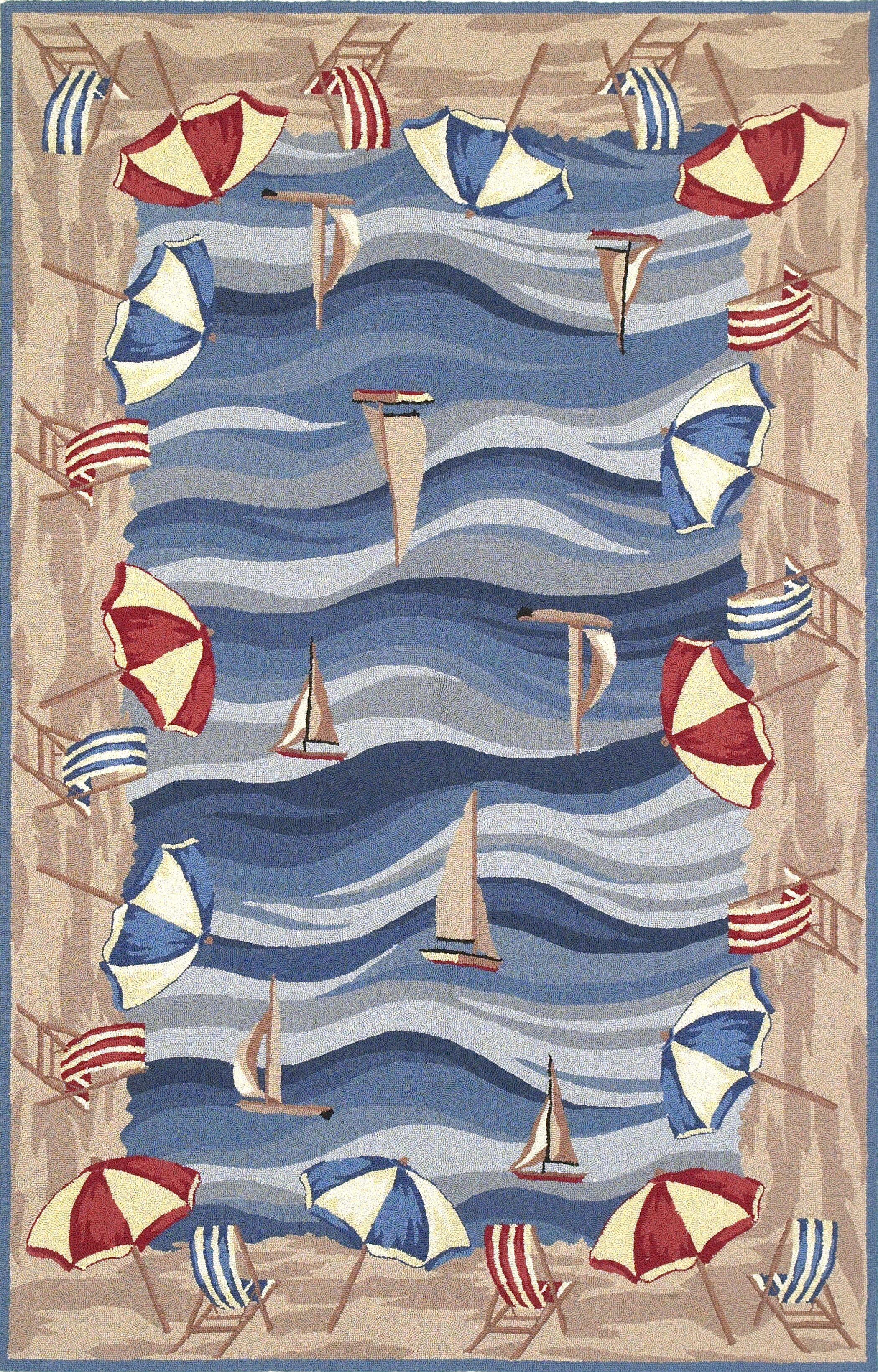 Livia On The Beach Novelty Hand-Hooked Blue Rug Rug Size: Rectangle 5'3