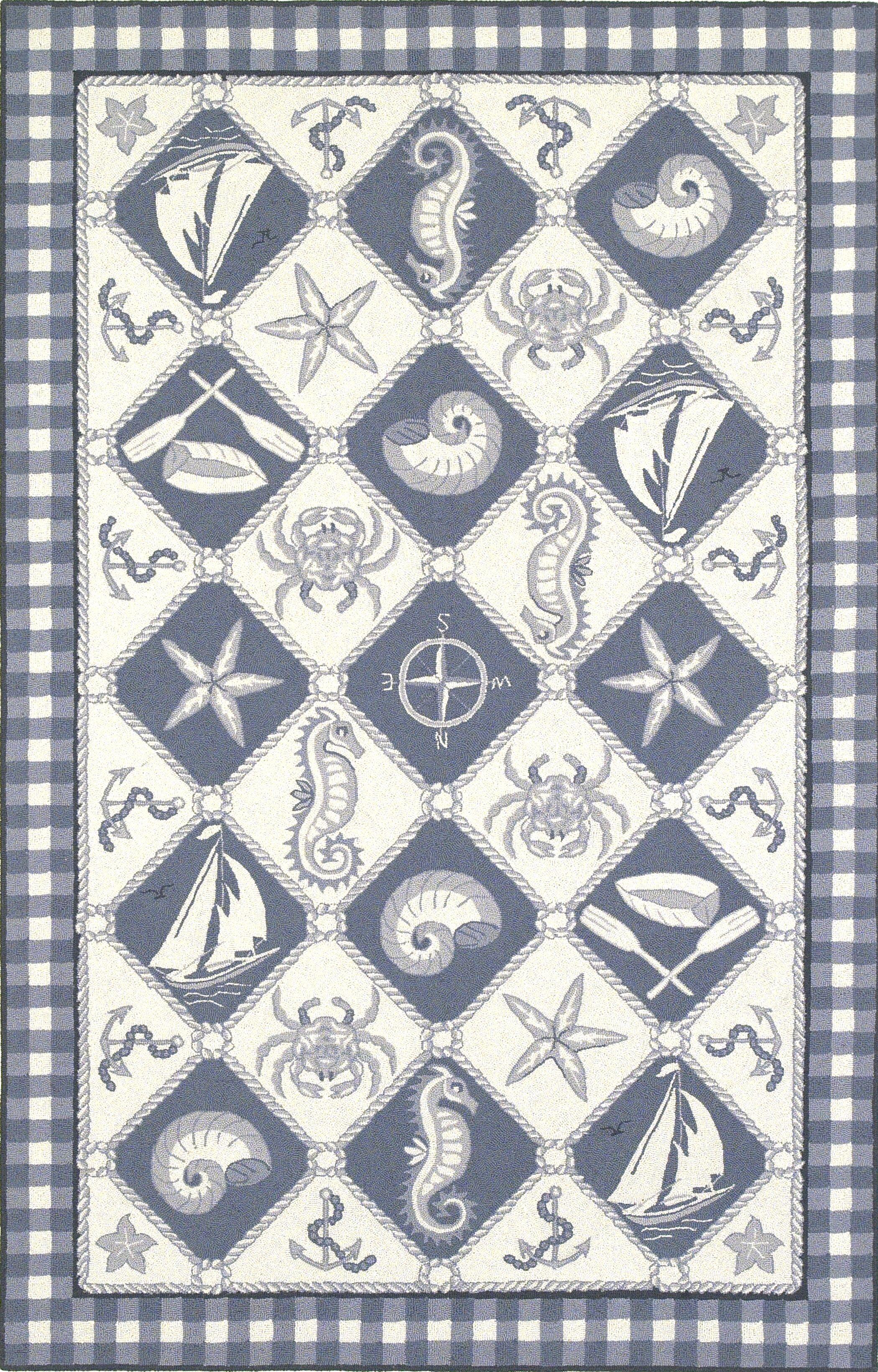 Livia Blue/Ivory Nautical Novelty Rug Rug Size: Rectangle 5'3