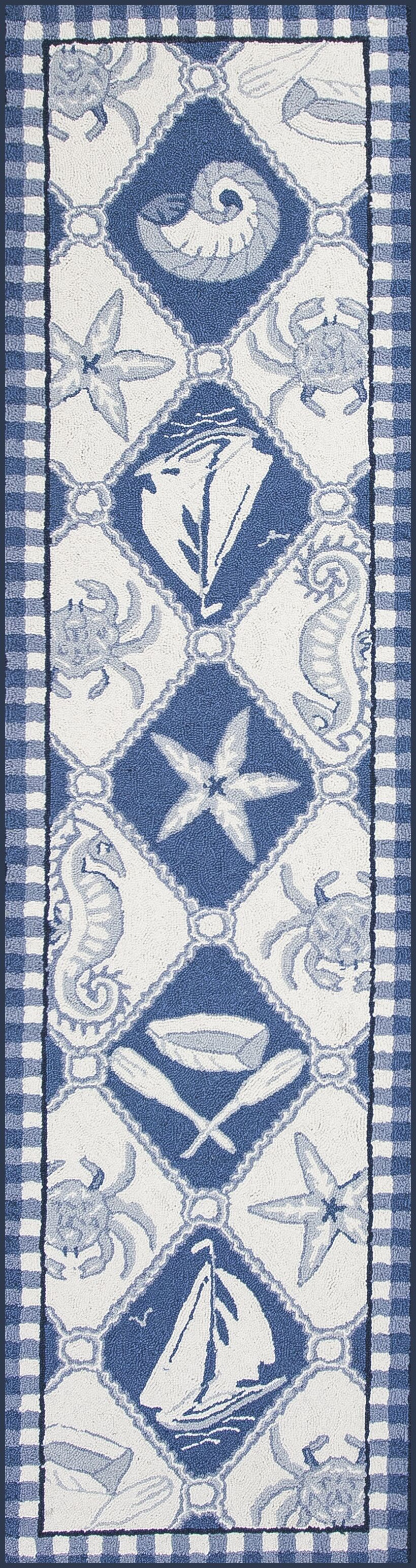 Livia Blue/Ivory Nautical Novelty Rug Rug Size: Runner 2' x 8'
