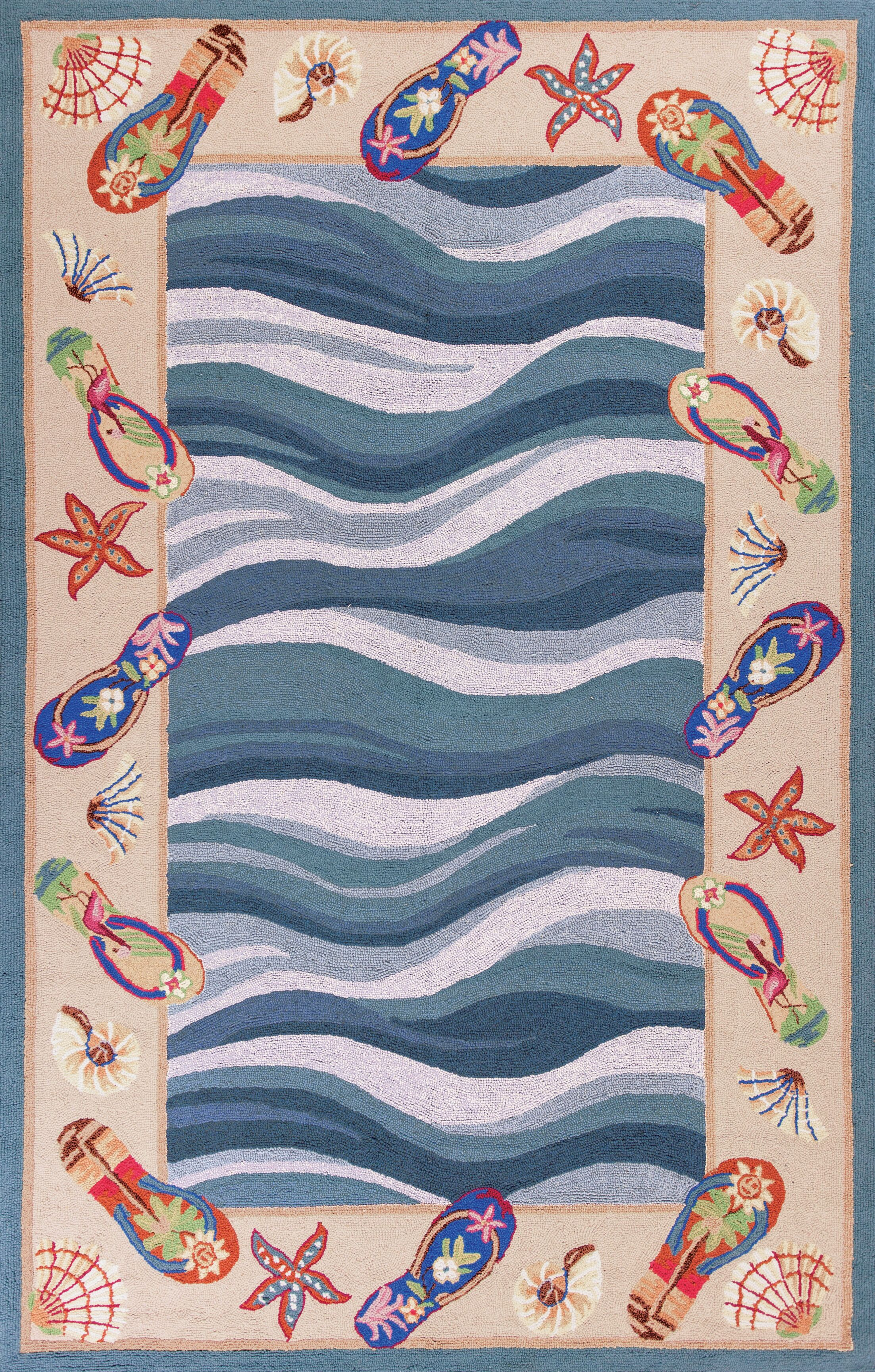 Livia Fun in the Sun Nautical Novelty Area Rug Rug Size: Round 7'6