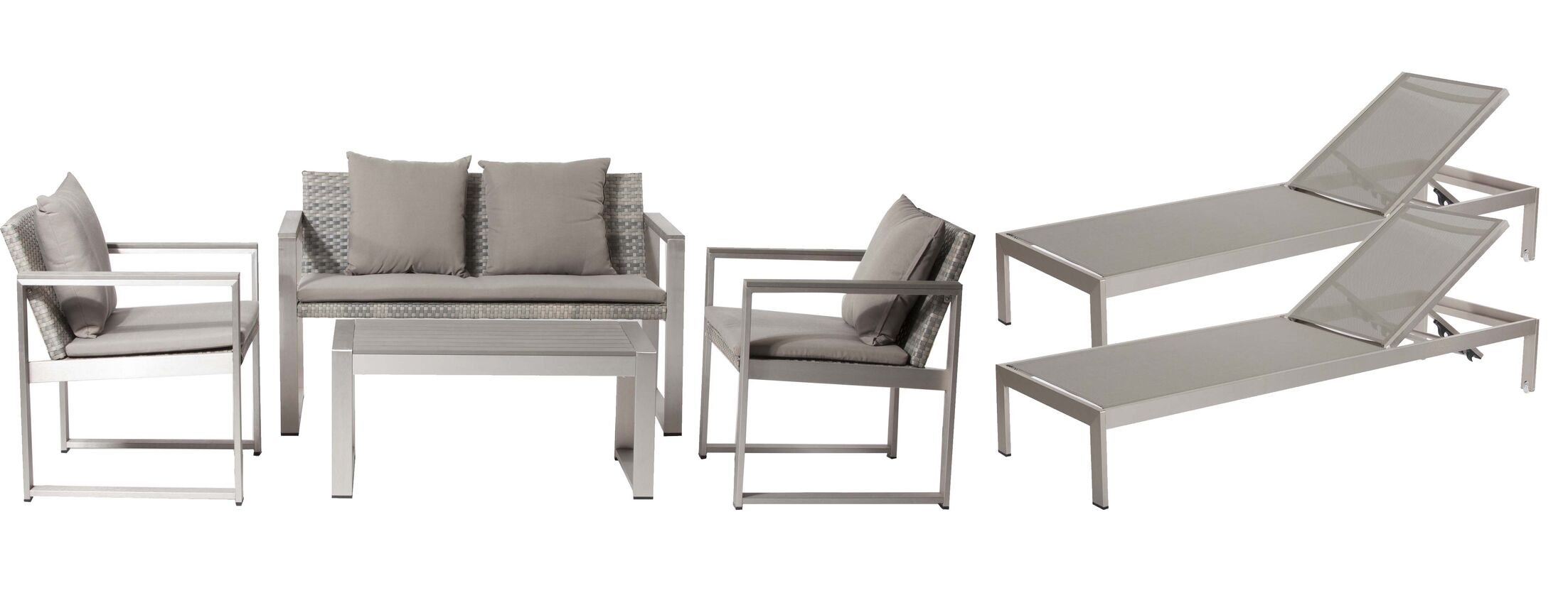 Hampshire 6 Piece Rattan Sofa Set with Cushions Frame Color: Gray, Cushion Color: Gray