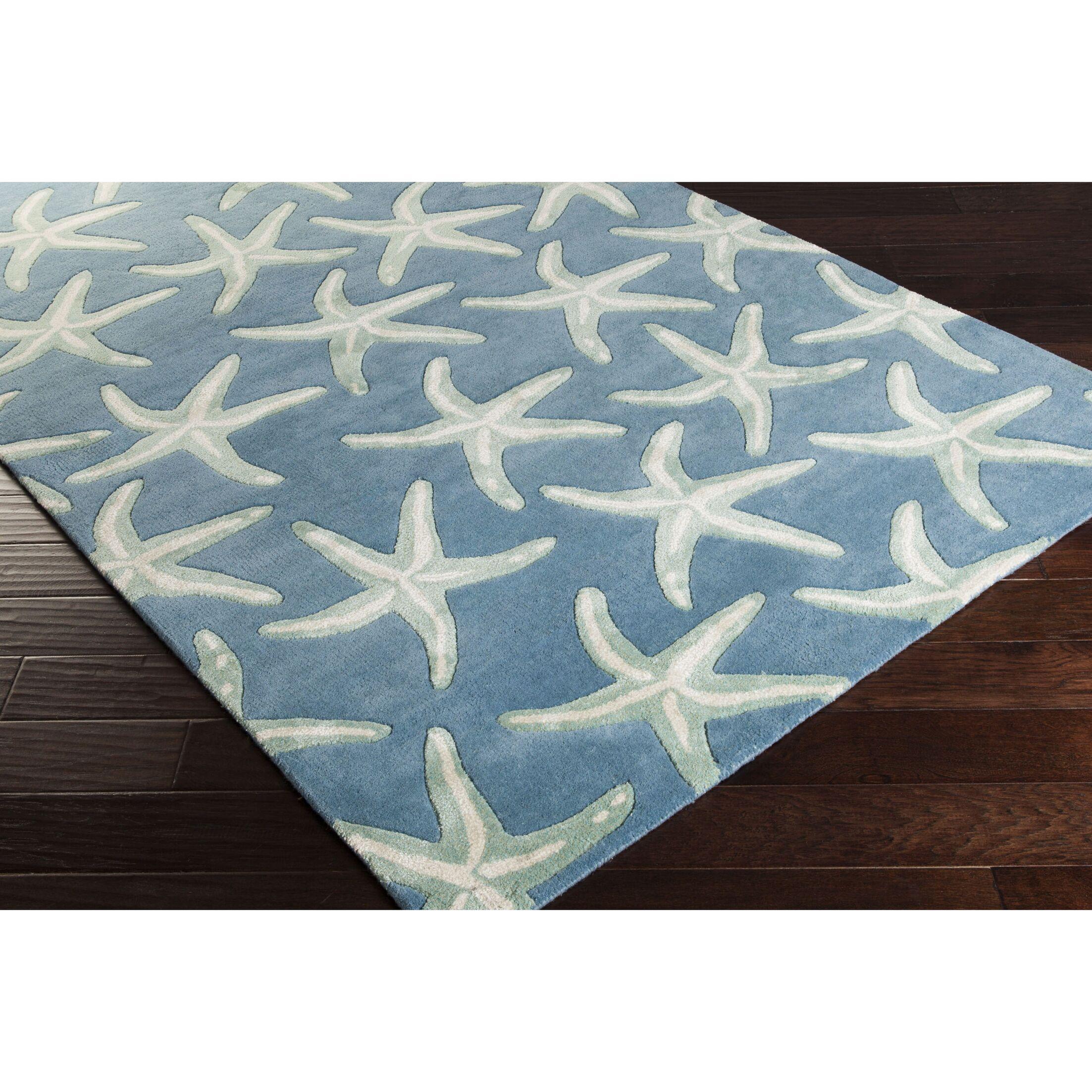 Clare Hand-Tufted Denim/Khaki Area Rug Rug Size: Rectangle 5' x 8'