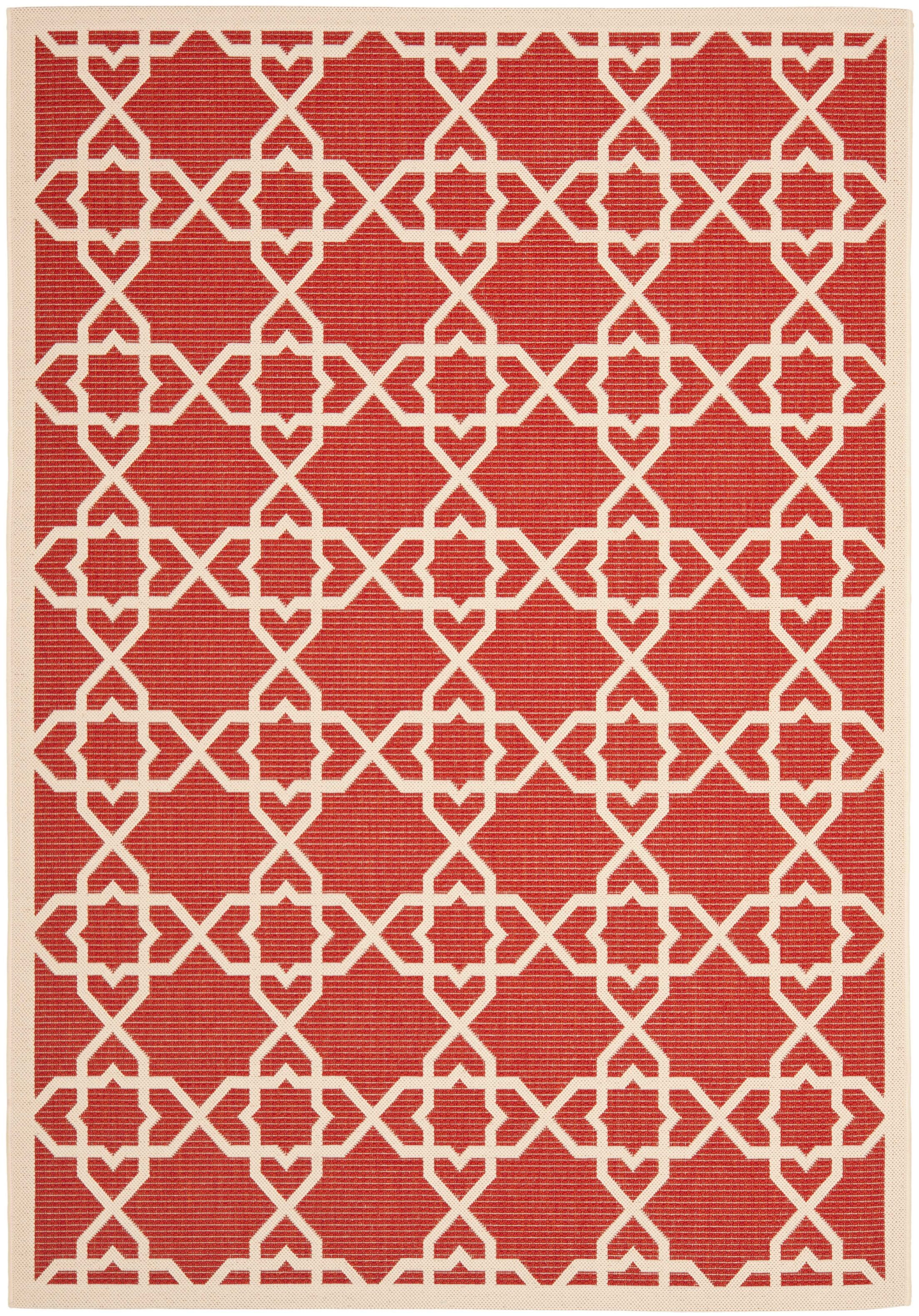 Ceri Machine Woven Red/Beige Indoor/Outdoor Rug Rug Size: Rectangle 9' x 12'6