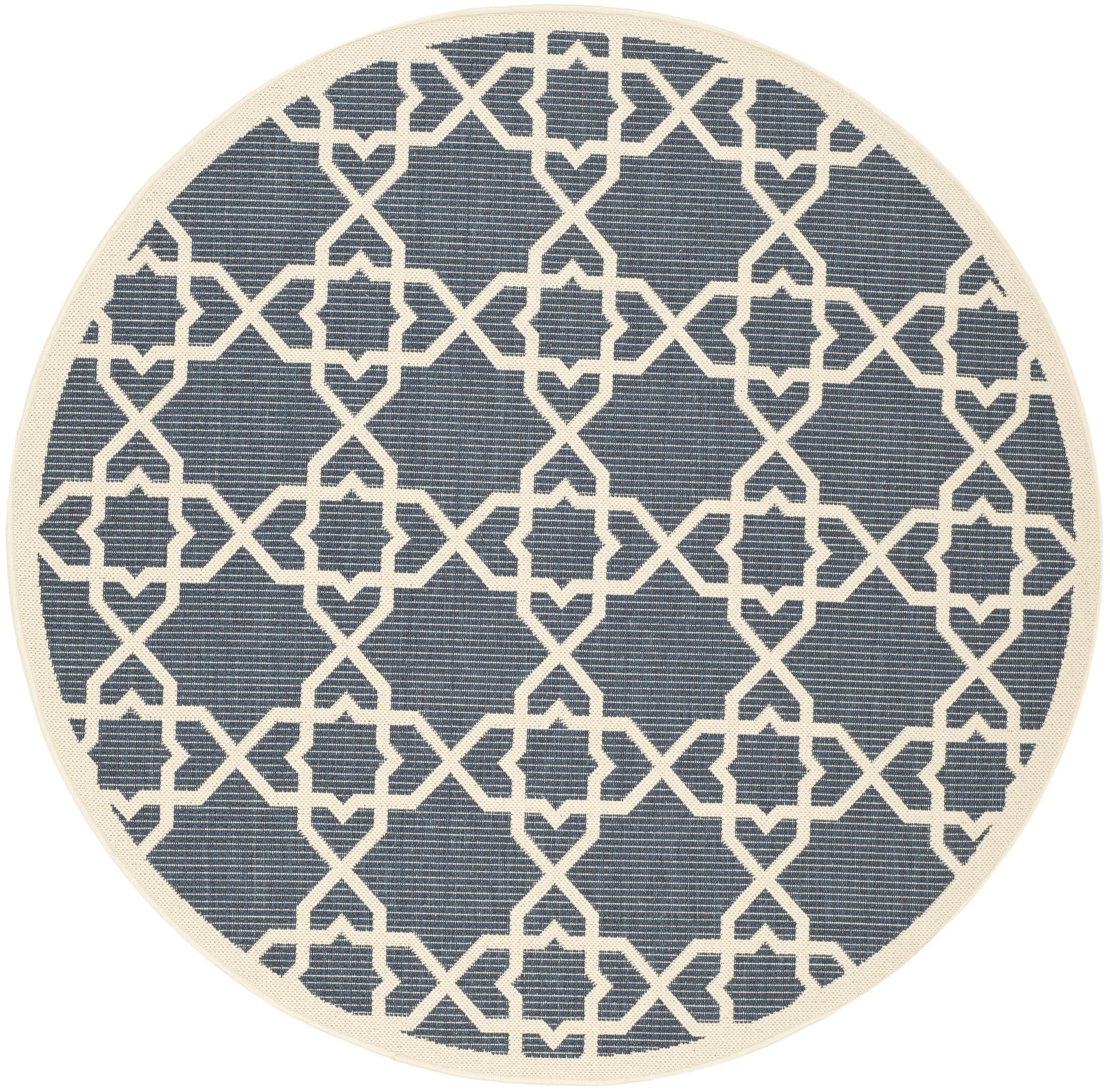 Ceri Navy/Beige Indoor/Outdoor Area Rug Rug Size: Round 6'7