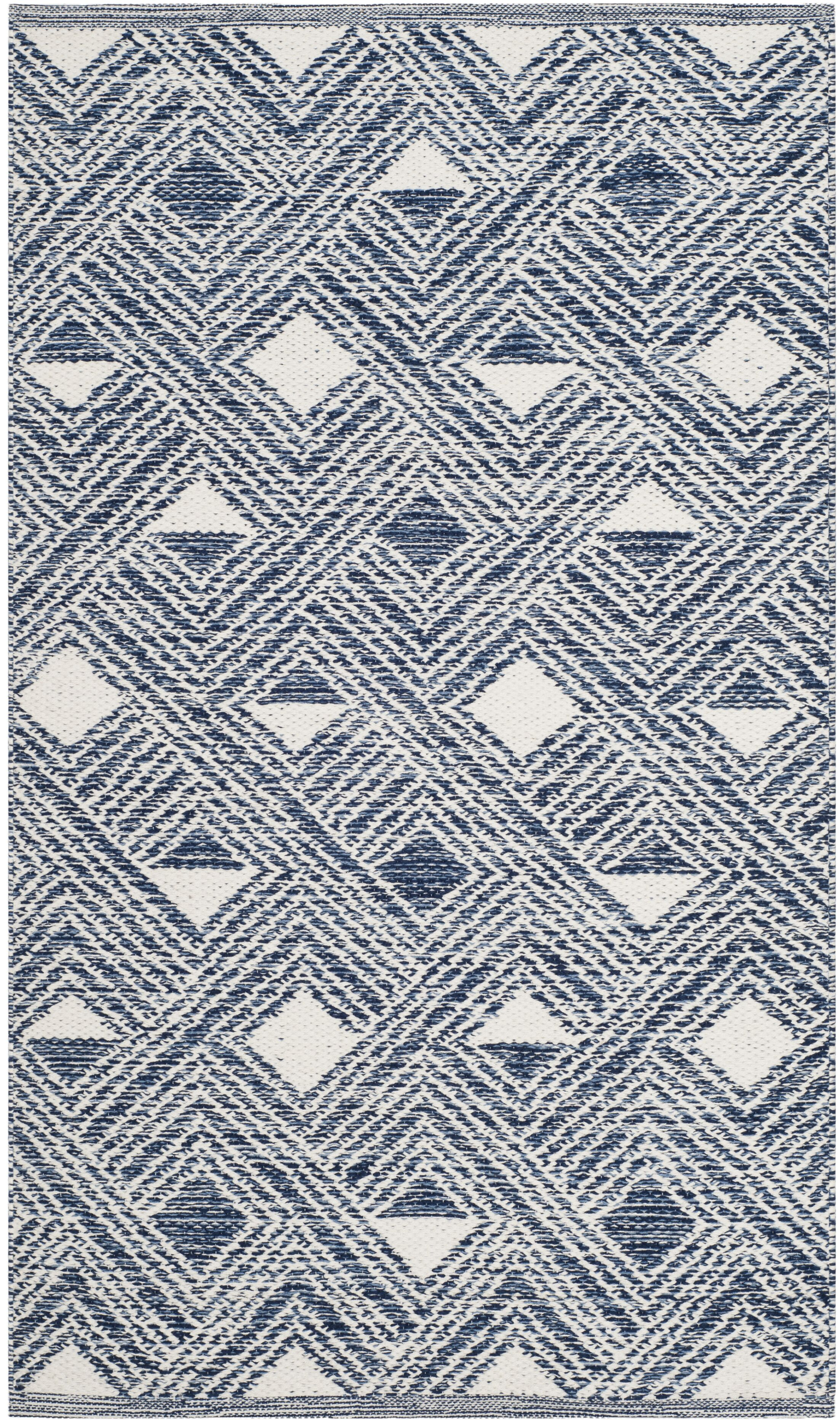 Dominica Hand-Woven Navy/Ivory Area Rug Rug Size: Rectangle 8' x 10'