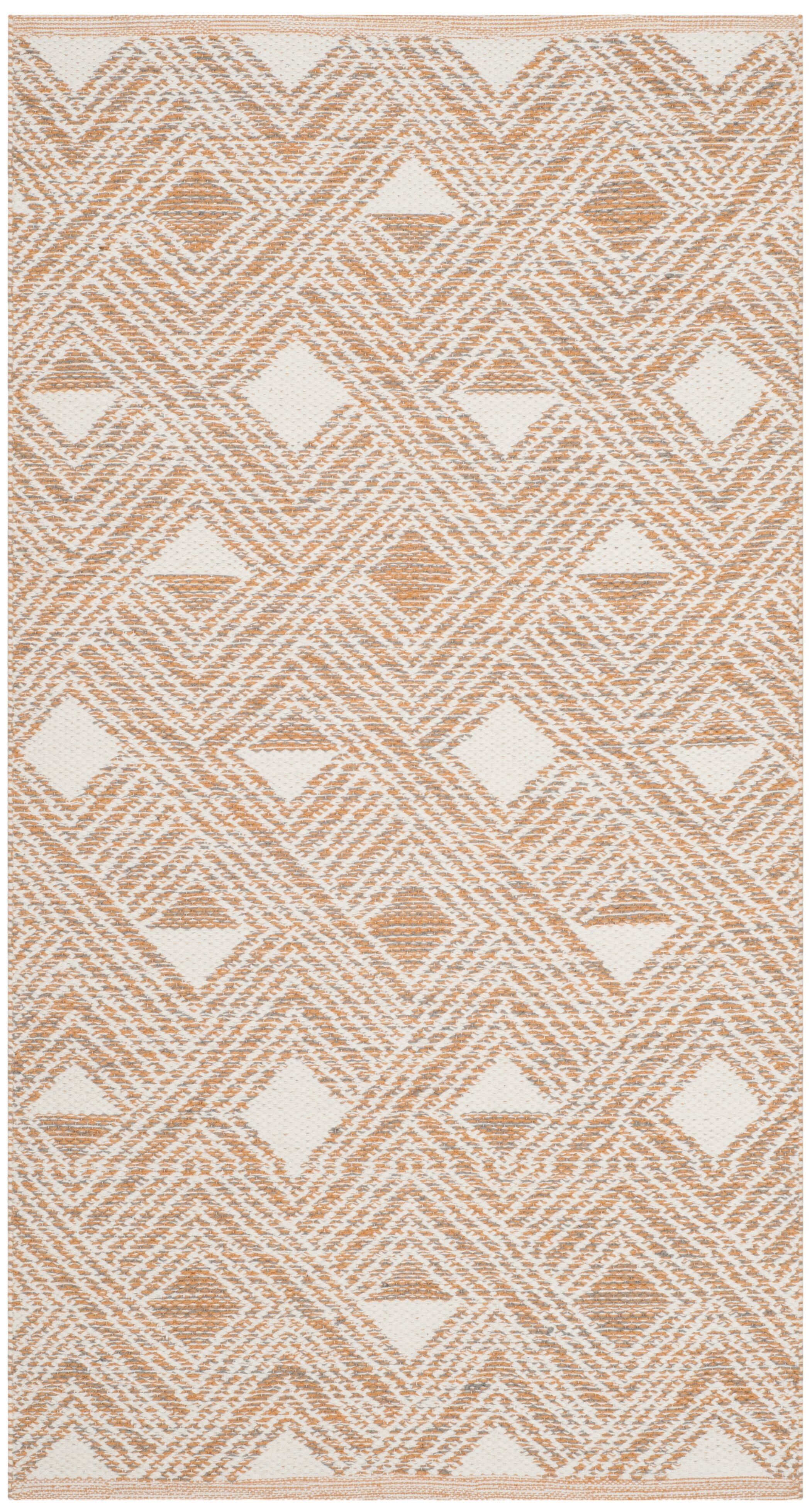 Cloutier Hand-Woven Peach/Ivory Area Rug Rug Size: Rectangle 5' x 8'