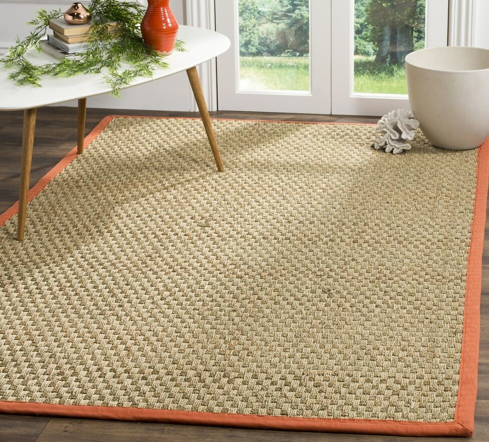 Morrisville Natural/Rust Area Rug Rug Size: Rectangle 6' x 9'