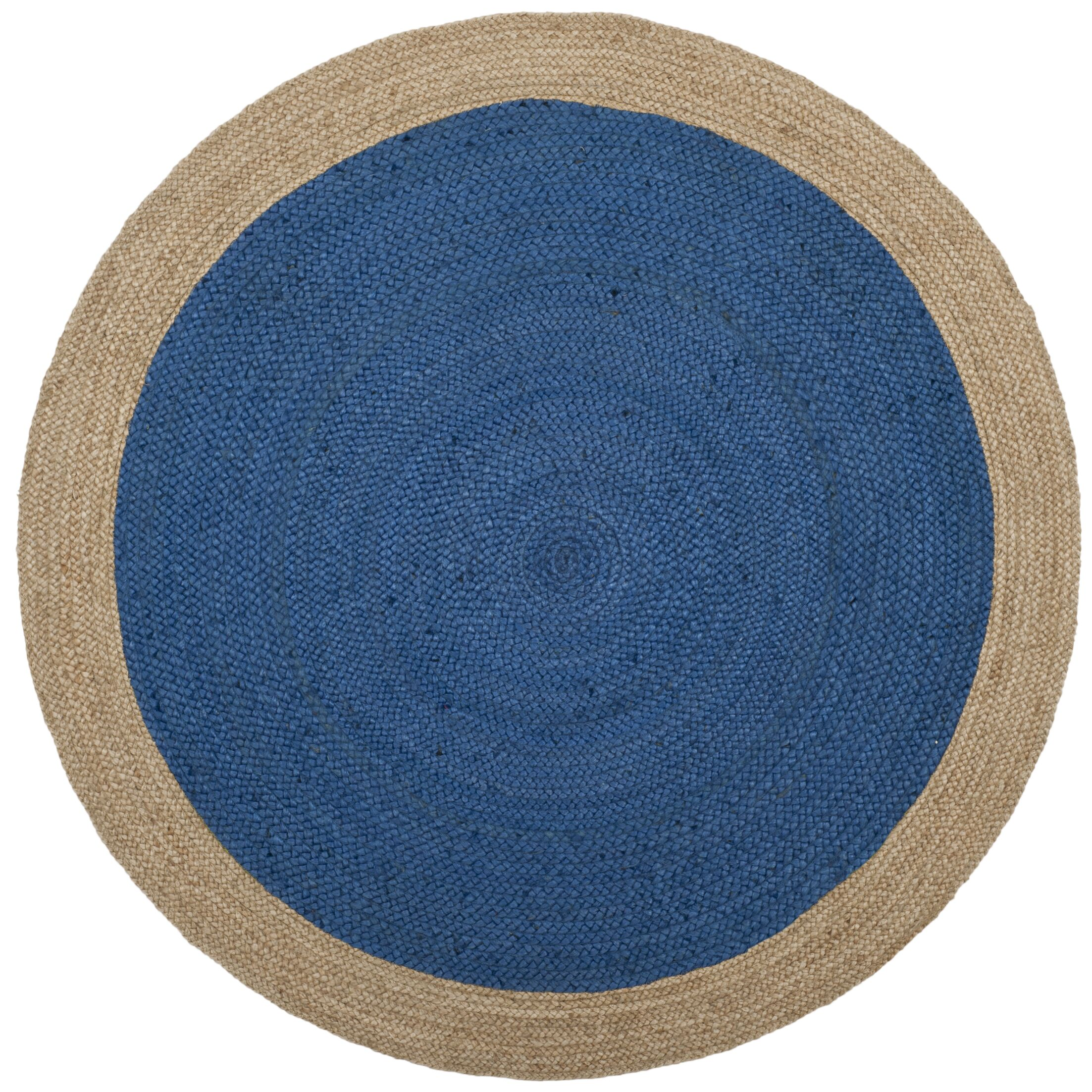 Cayla Fiber Hand-Woven Royal Blue/Natural Area Rug Rug Size: Round 5'