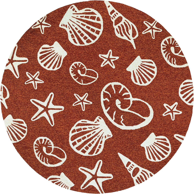 Monticello Cardita Shells Hand-Hooked Terracotta Indoor/Outdoor Area Rug Rug Size: Round 7'10