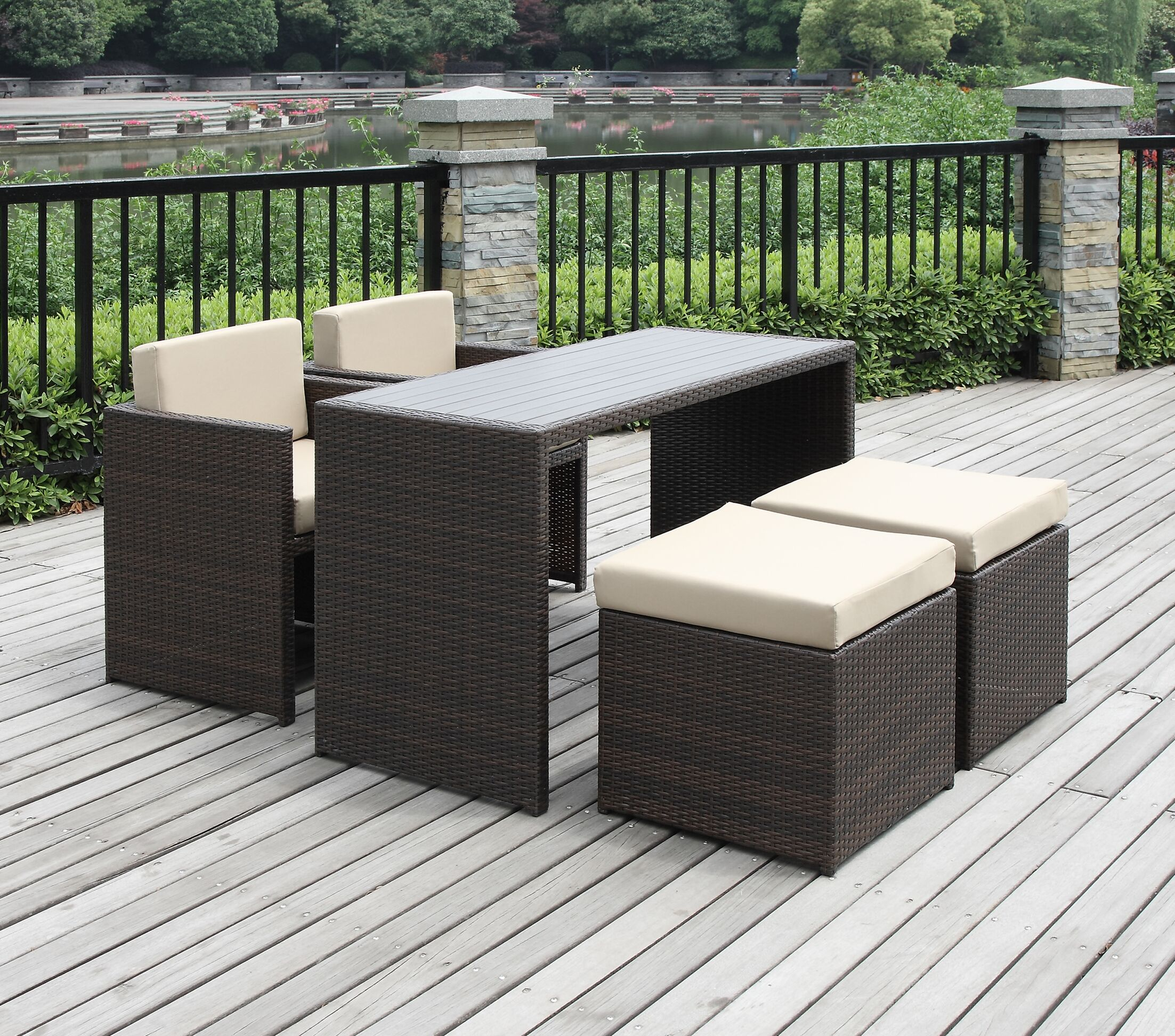 Insley 5 Piece Dining Set with Cushion