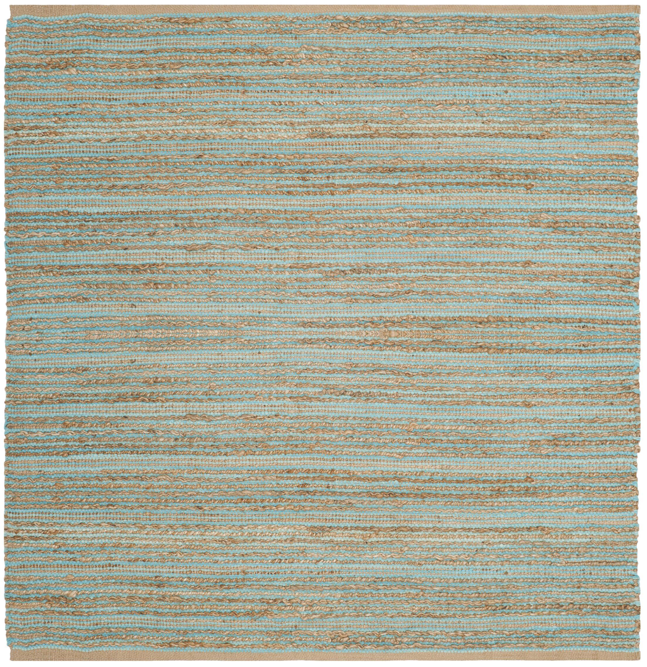 Marshville Hand-Woven Aqua/Beige Area Rug Rug Size: Square 6'