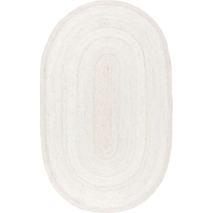 Burrillville Hand-Woven White Area Rug Rug Size: Oval 8' x 10'