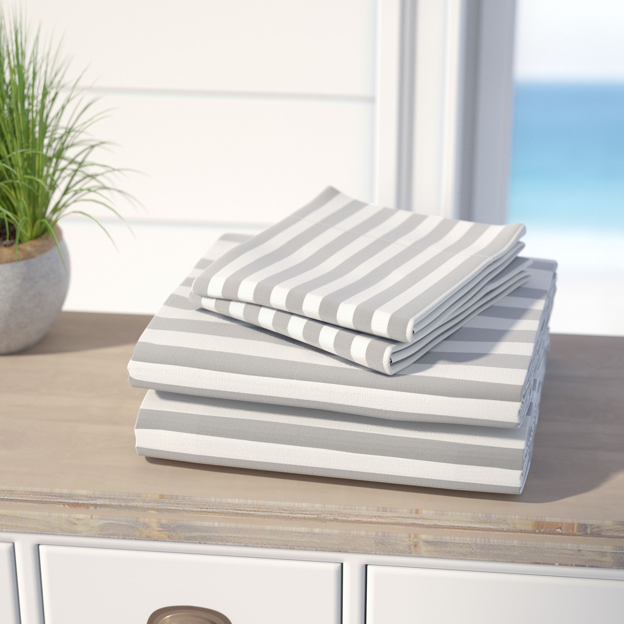 Ariel 600 Thread Count Cotton Blend Sheet Set Color: Grey, Size: Queen