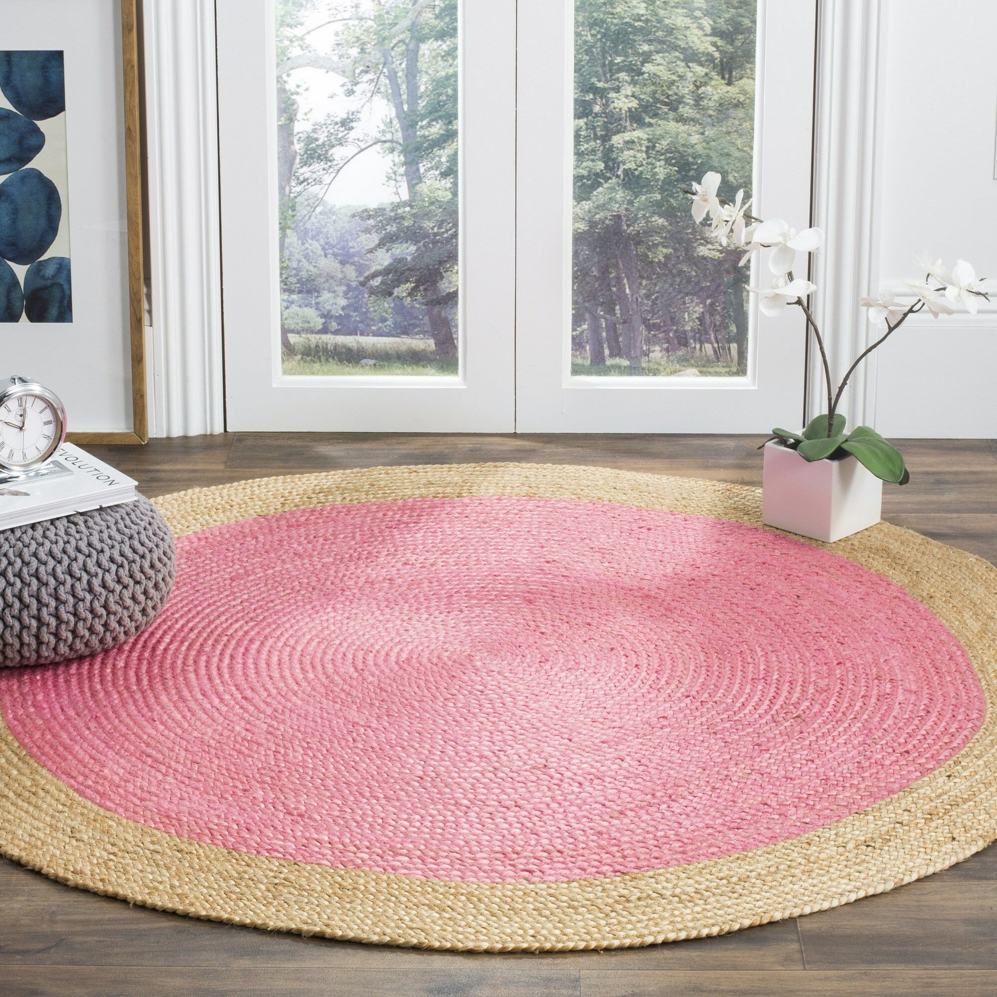 Cayla Fiber Hand-Woven Pink/Natural Area Rug Rug Size: Round 6'