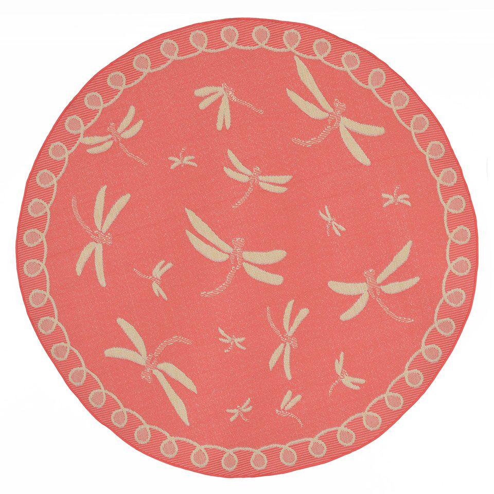 Clatterbuck Dragonfly Pink/Beige Indoor/Outdoor Area Rug Rug Size: Round 7'10