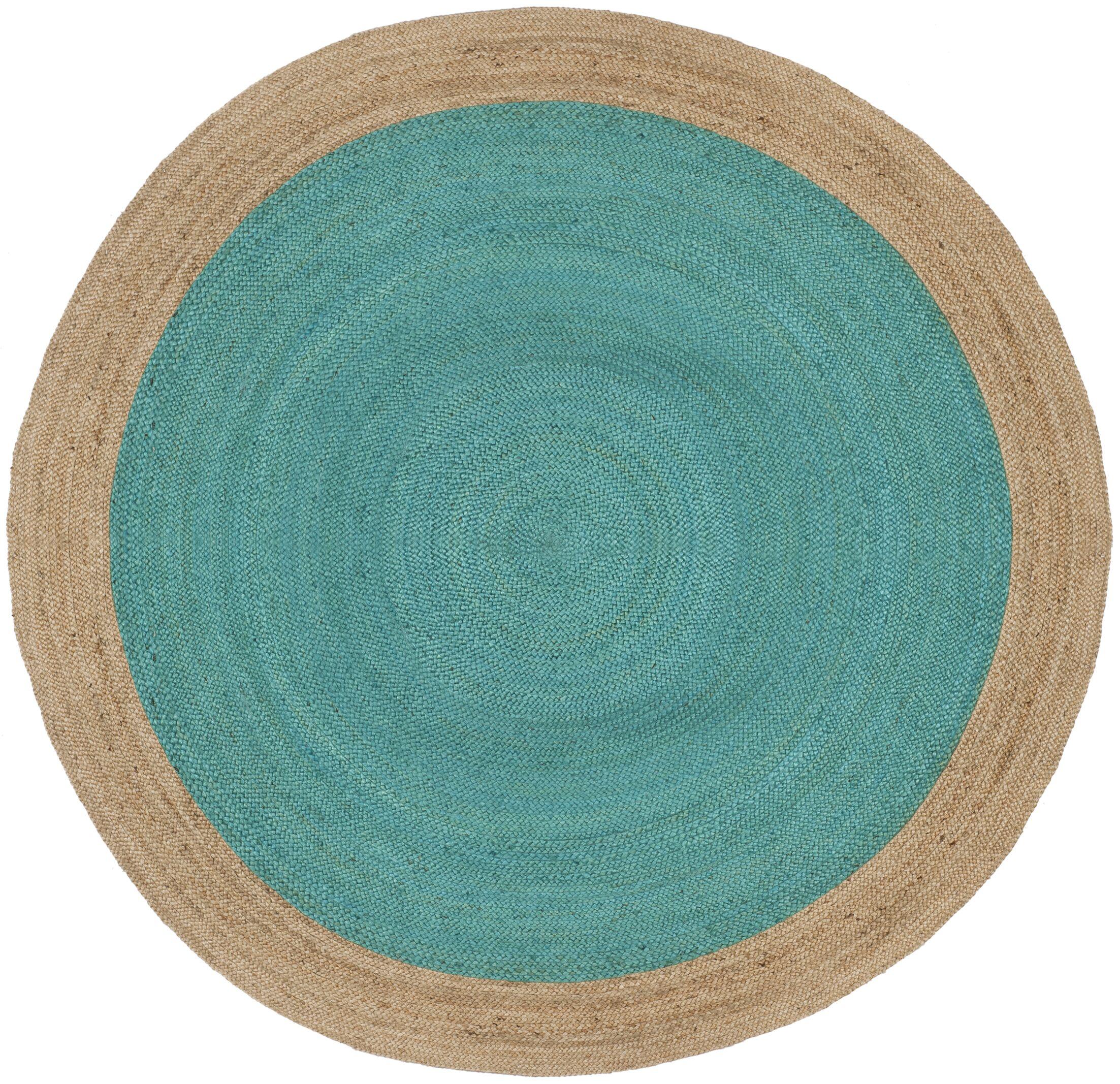 Cayla Fiber Hand-Woven Teal/Natural Area Rug Rug Size: Round 8'