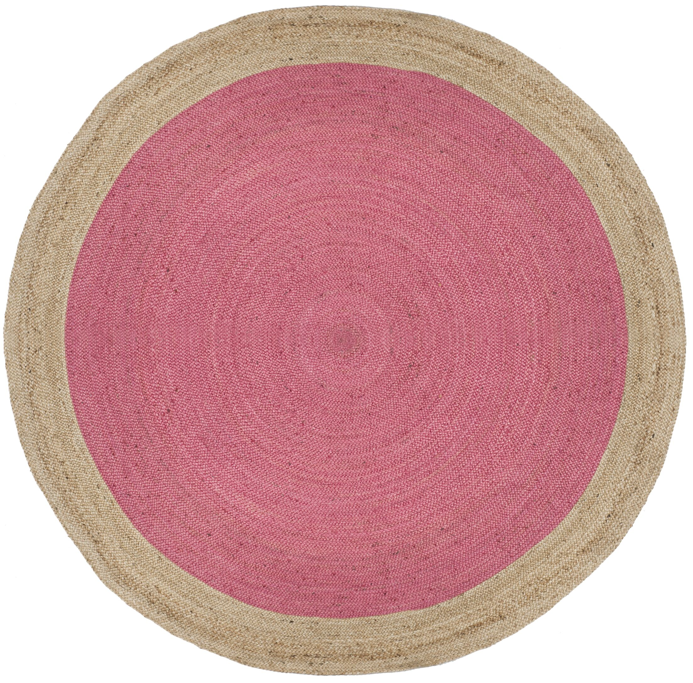 Cayla Fiber Hand-Woven Pink/Natural Area Rug Rug Size: Round 8'