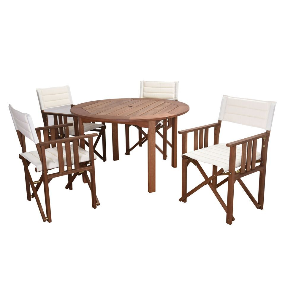 Foss Patio 5 Piece Dining Set Color: White