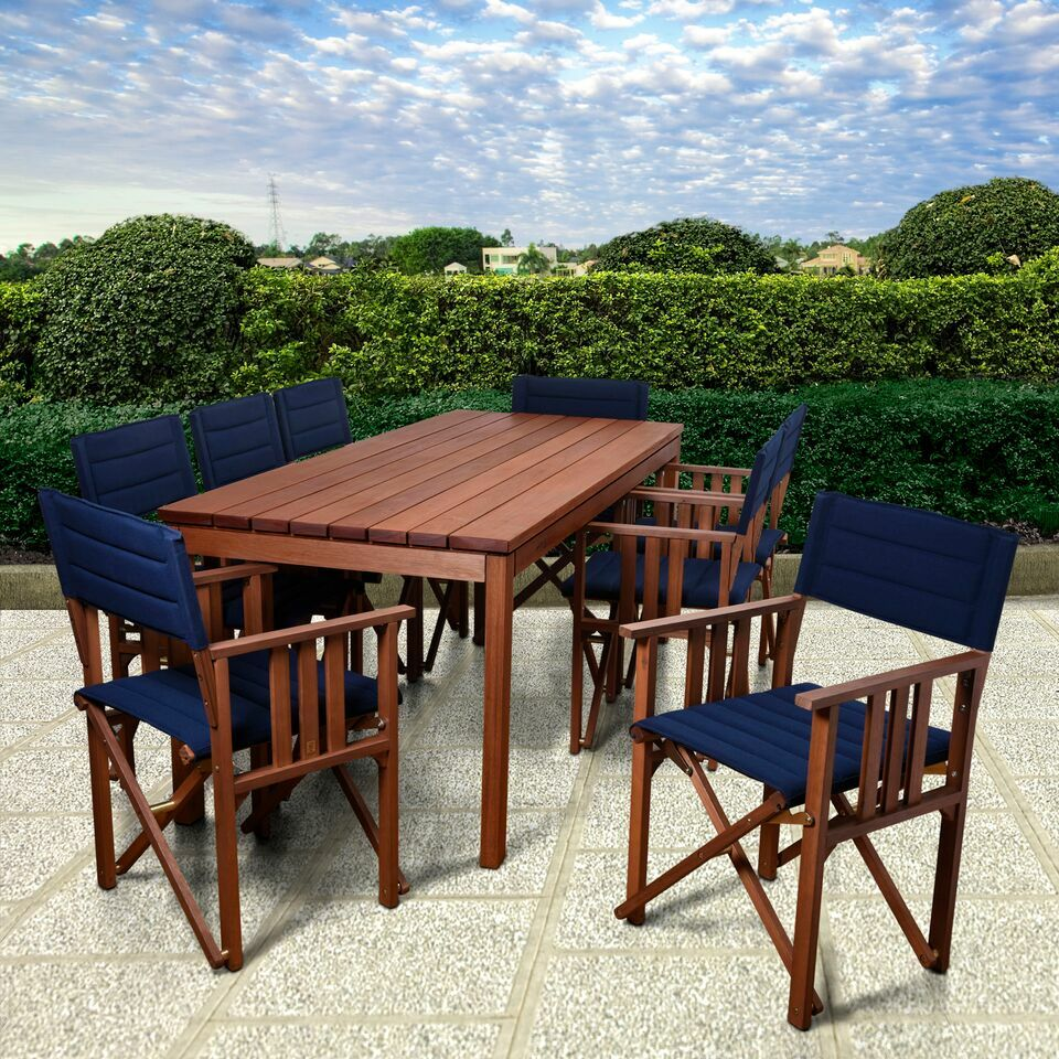 Foss Patio 9 Piece Dining Set Color: Blue