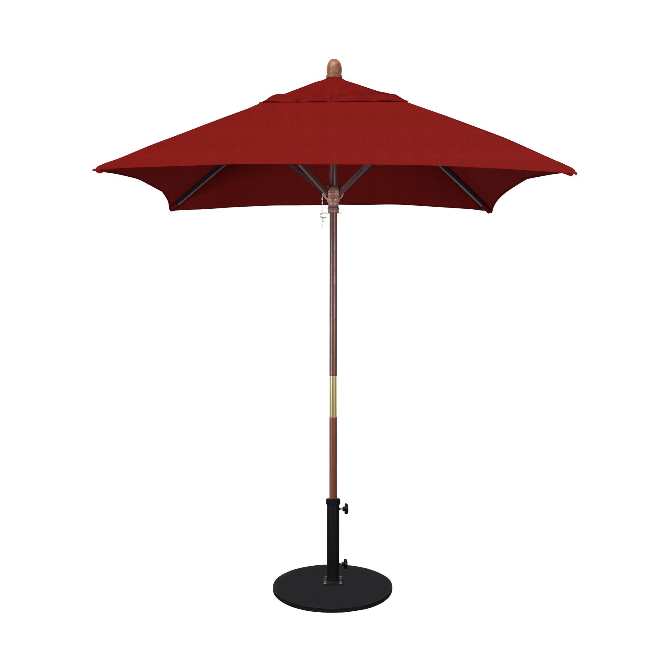 Burl 6' Square Market Umbrella Fabric: Sunbrella AA Jockey Red