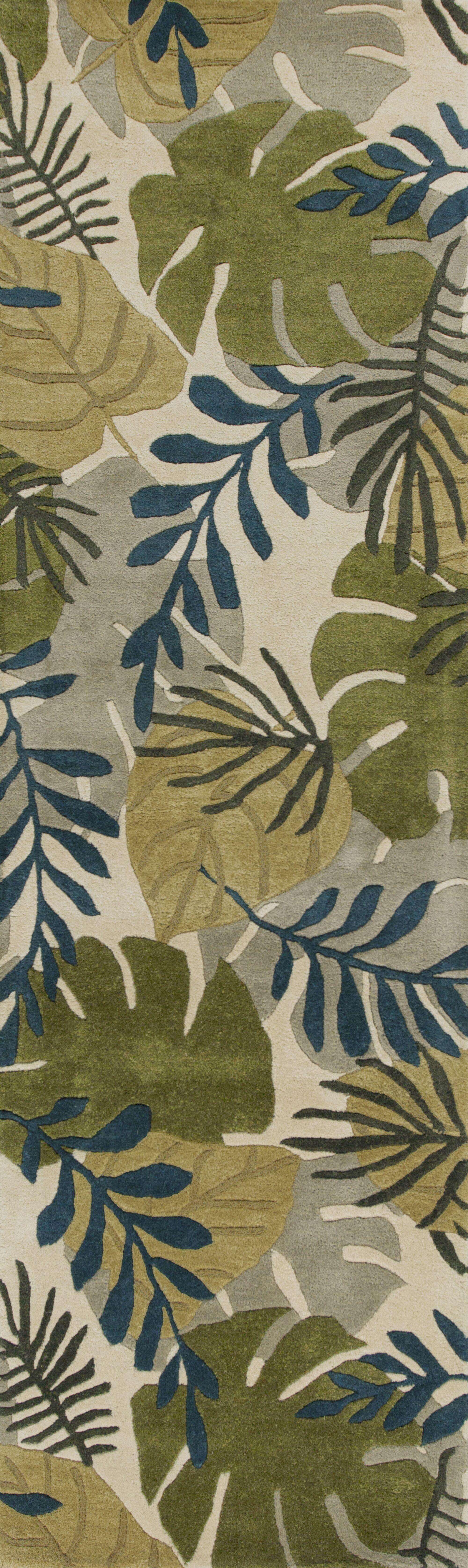 Imala Hand-Tufted Leaves Ivory Wool Area Rug Rug Size: Runner 2'3
