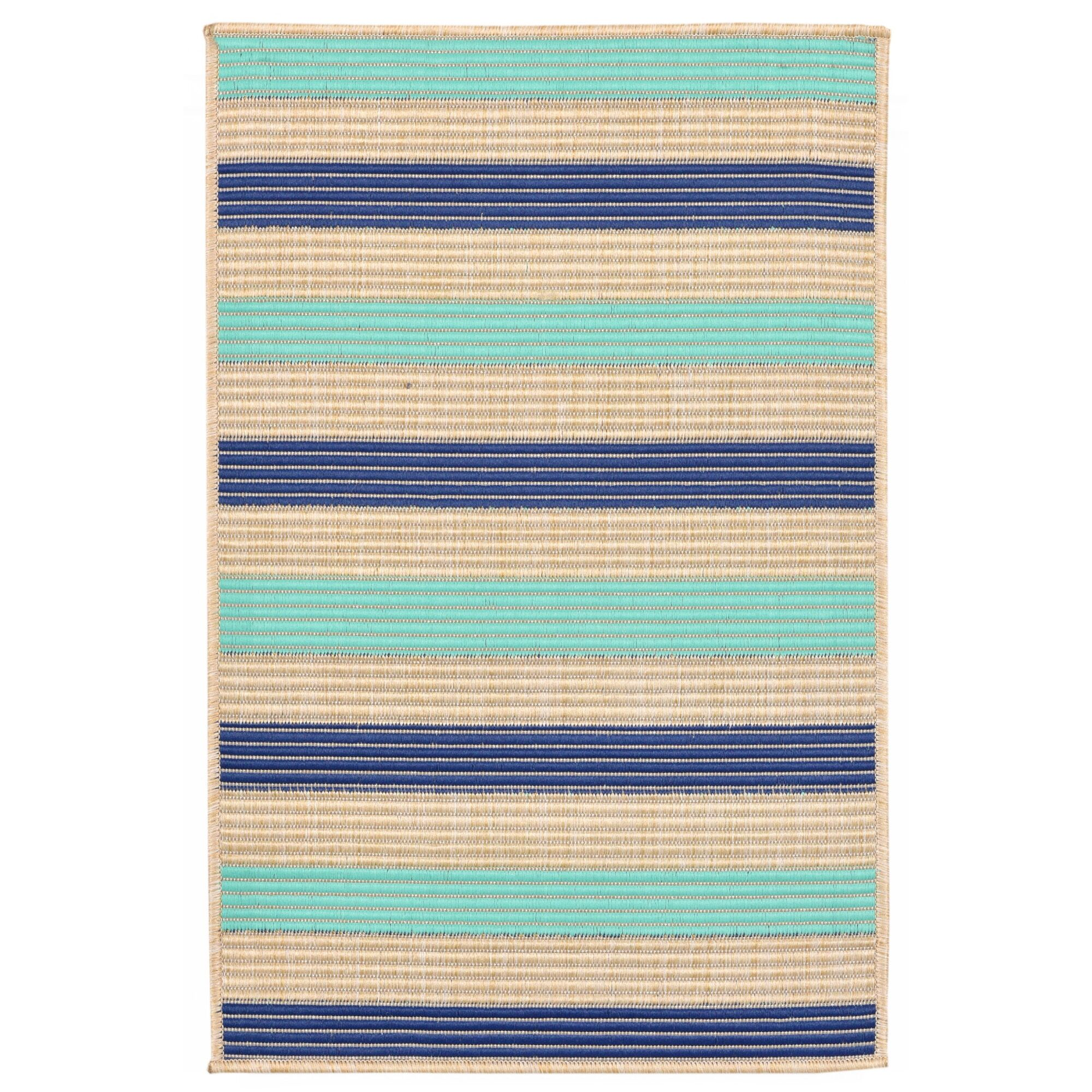 Larana Stripe Beige/Blue Synthetic Indoor/Outdoor Area Rug Rug Size: Rectangle 1'11