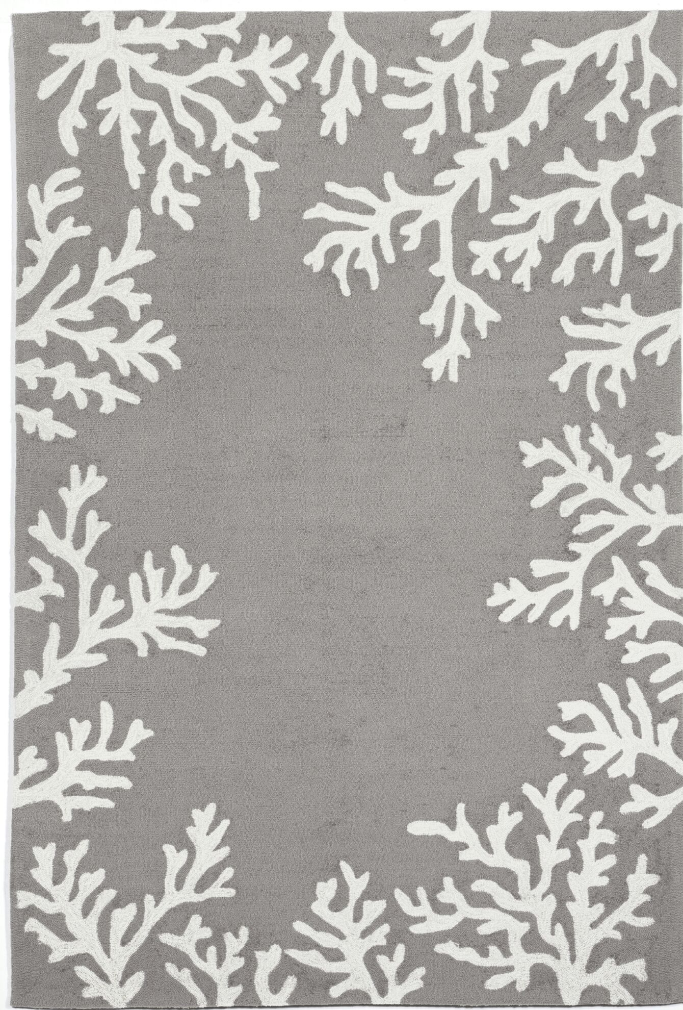 Claycomb Coral Border Hand-Tufted Silver Indoor/Outdoor Area Rug Rug Size: Rectangle 7'6