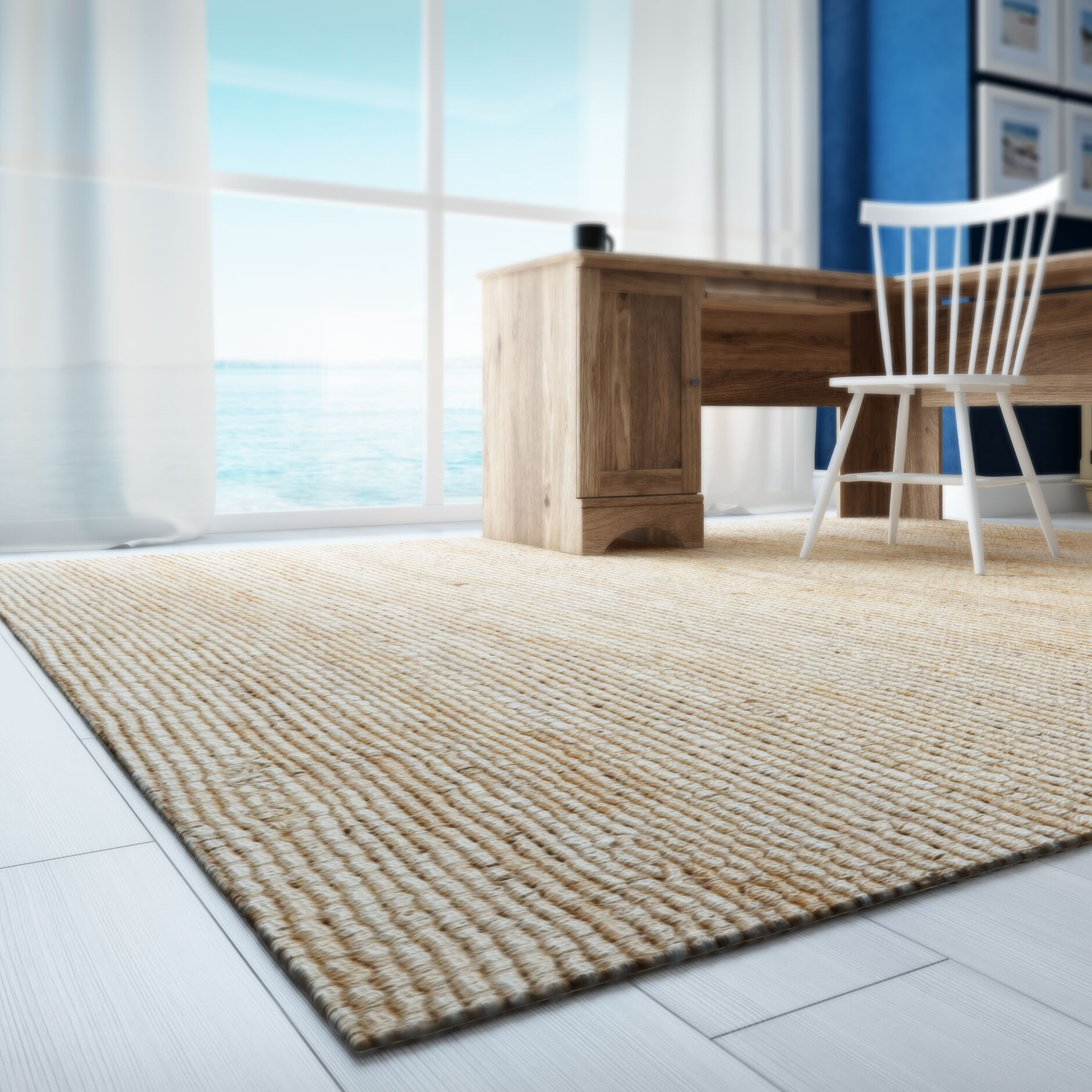 Worley Hand Woven Natural Area Rug Rug Size: Rectangle 5' x 8'