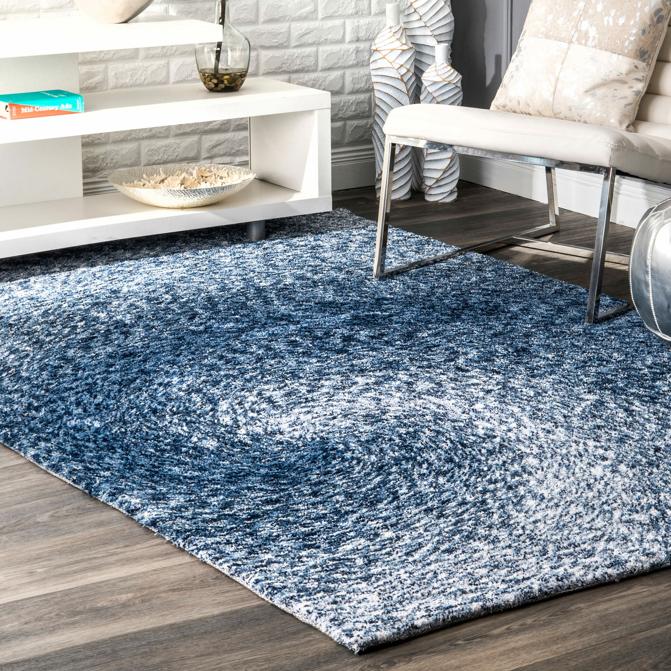 Salina Hand-Tufted Blue Area Rug Rug Size: Rectangle 7'6
