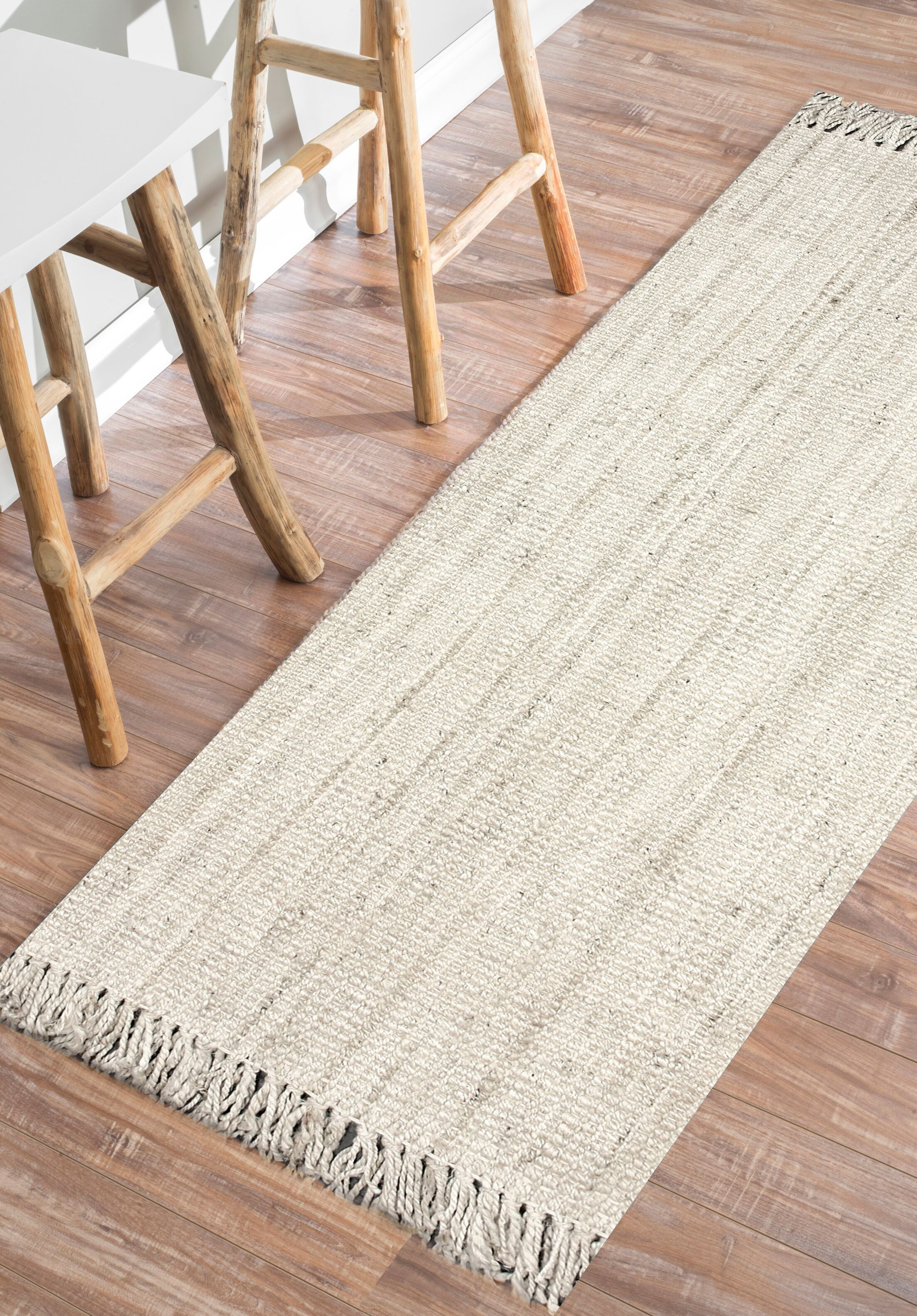 Elana Hand-Woven Bleached Ivory Area Rug Rug Size: Runner 2'6