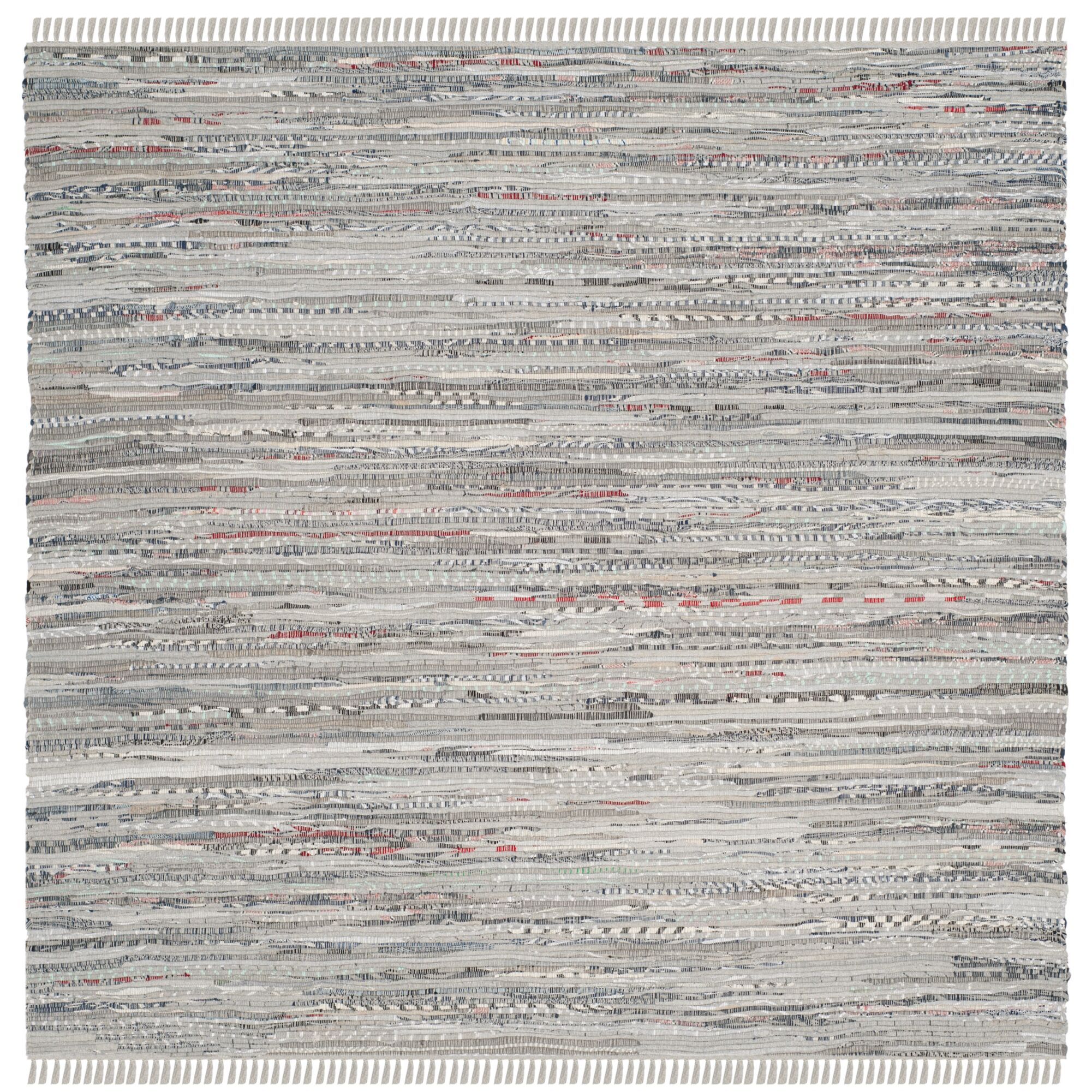 Havelock Striped Contemporary Hand-Woven Gray Area Rug Rug Size: Square 6'