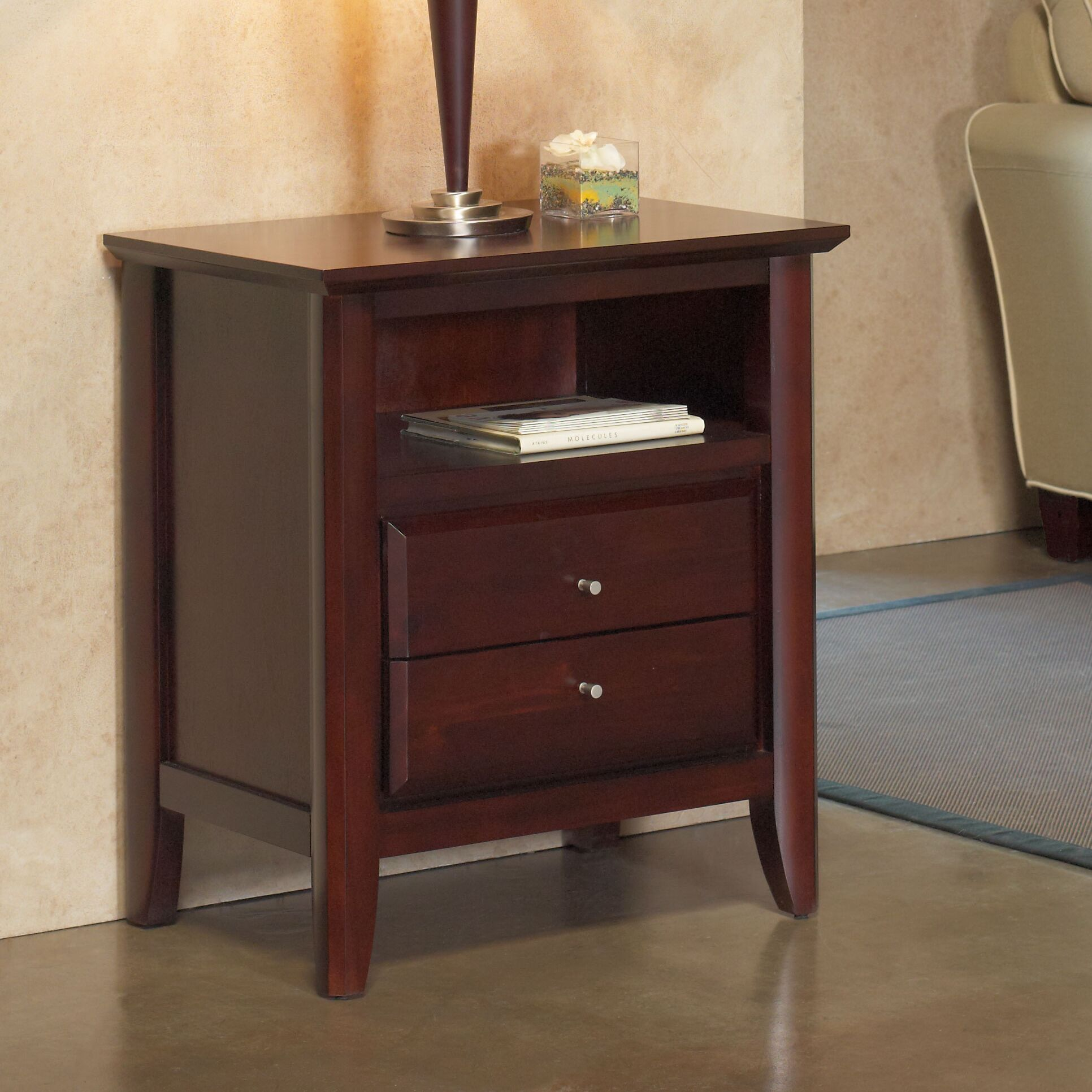 Hudson 2 Drawer Nightstand Color: Coco, Charging Station: Included