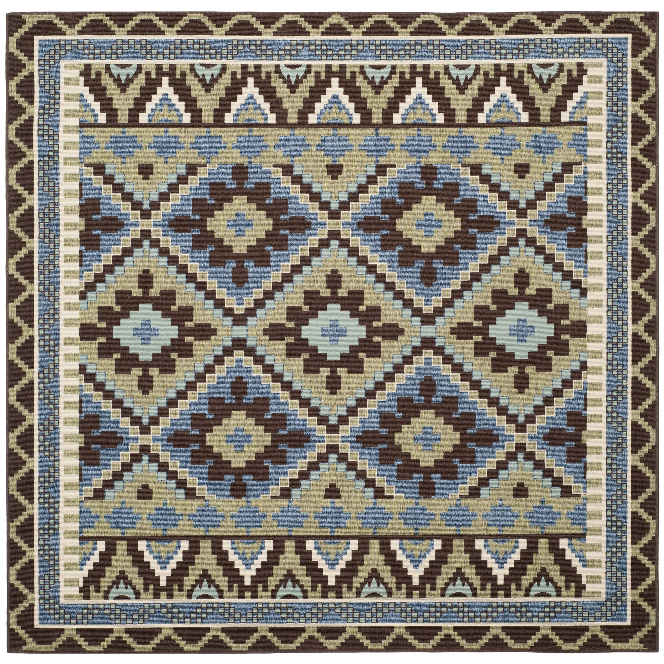 Rangely Green/Chocolate Indoor/Outdoor Area Rug Rug Size: Square 6'7
