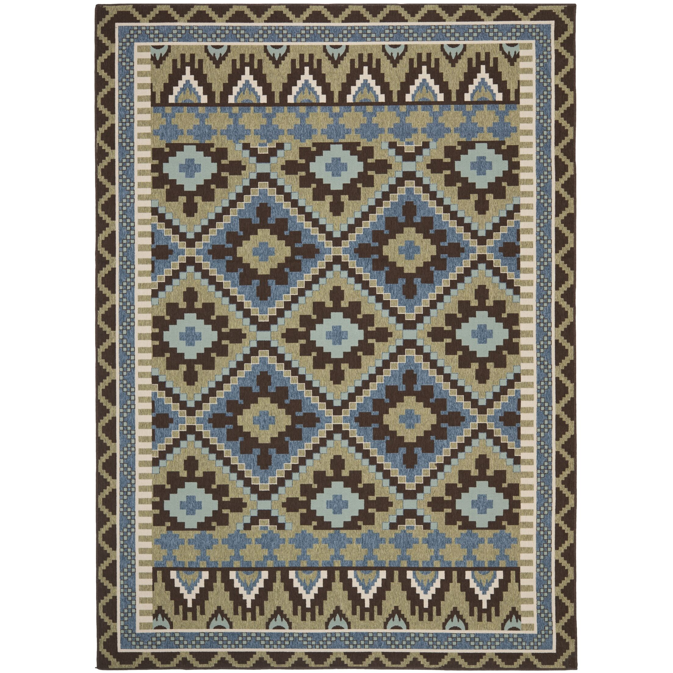 Rangely Green/Chocolate Indoor/Outdoor Area Rug Rug Size: Rectangle 6'7