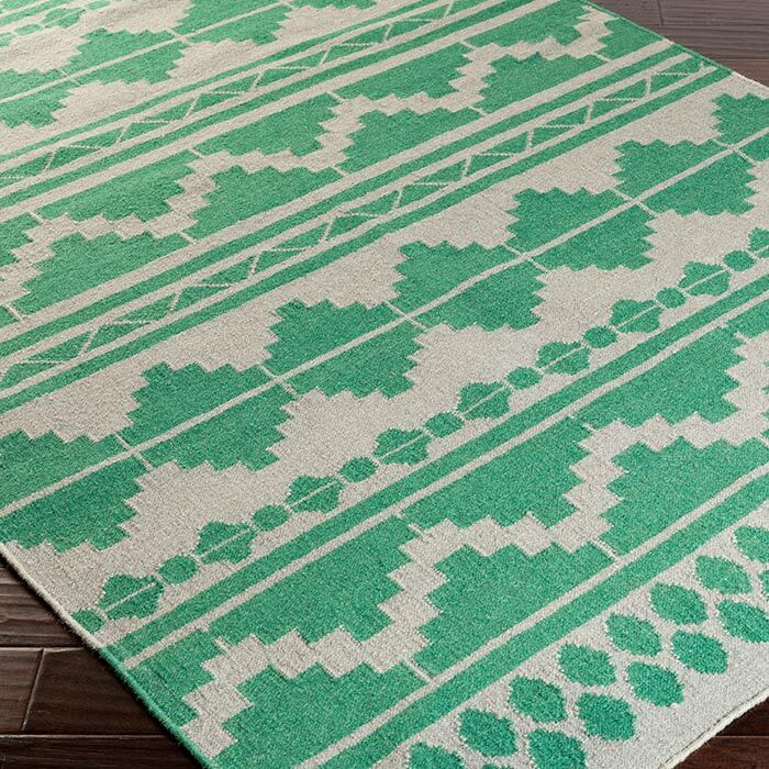 Charleville Flat Woven Wool Emerald/White Area Rug Rug Size: Rectangle 5' x 8'