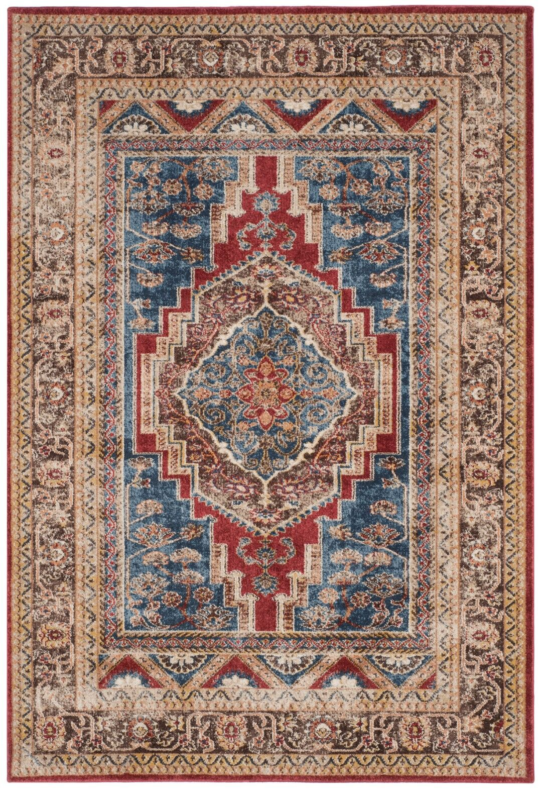 Isanotski Royal/Brown Area Rug Rug Size: Rectangle 8' x 10'