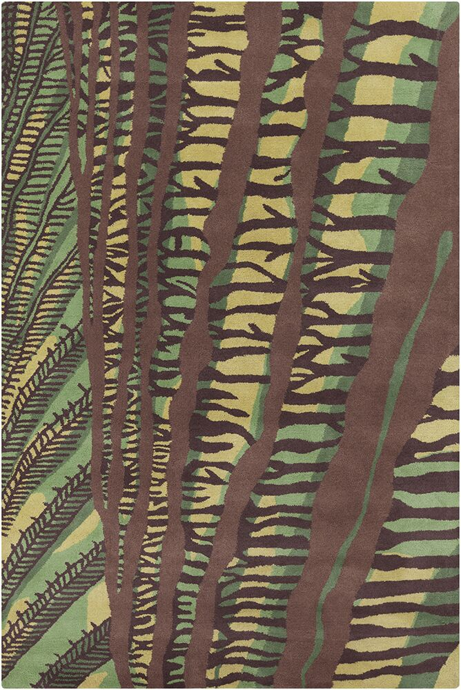 Chatou Hand Tufted Wool Green/Brown Area Rug Rug Size: 8' x 10'